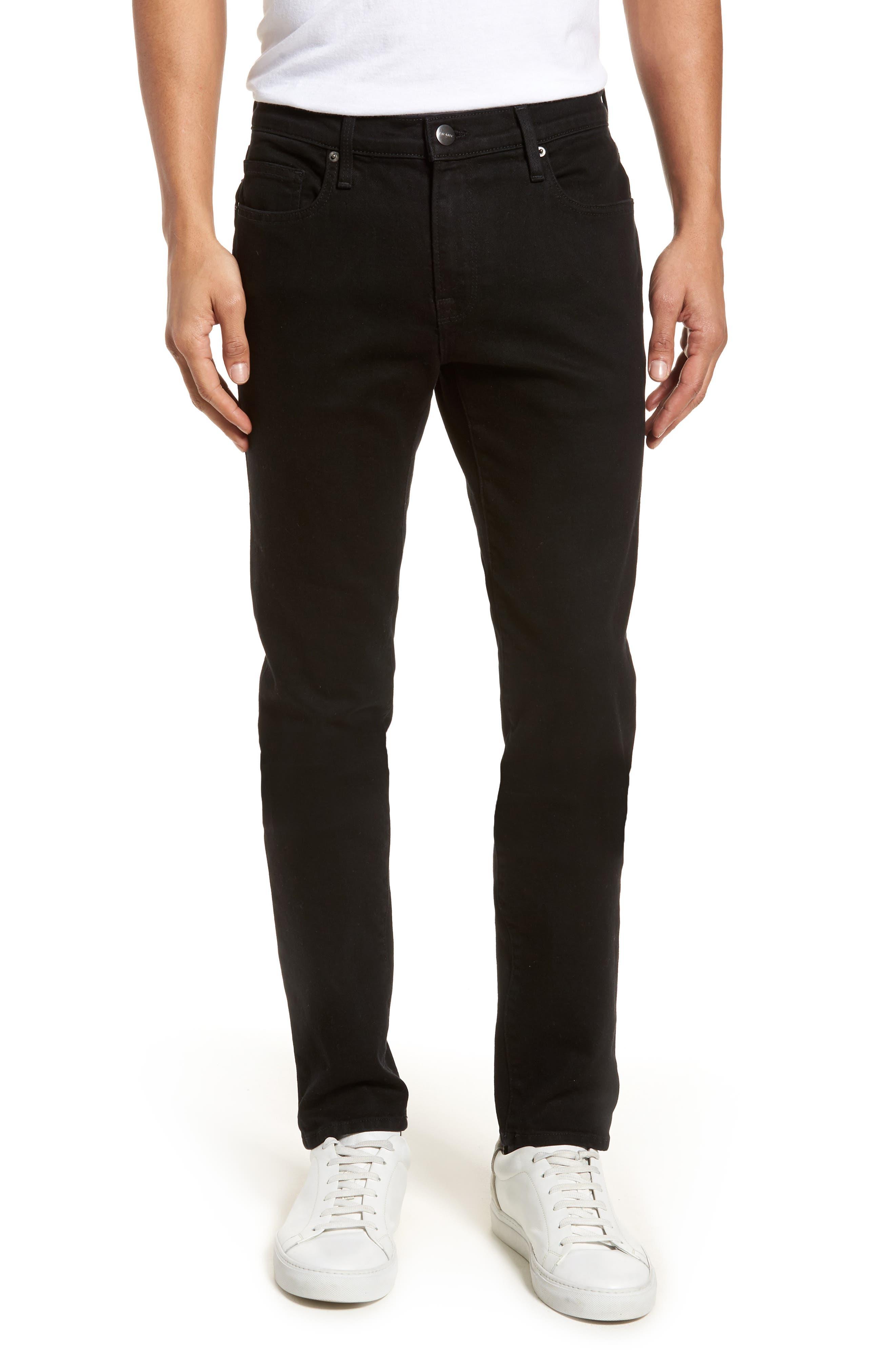 L'Homme Skinny Fit Jeans,                             Main thumbnail 1, color,                             Noir