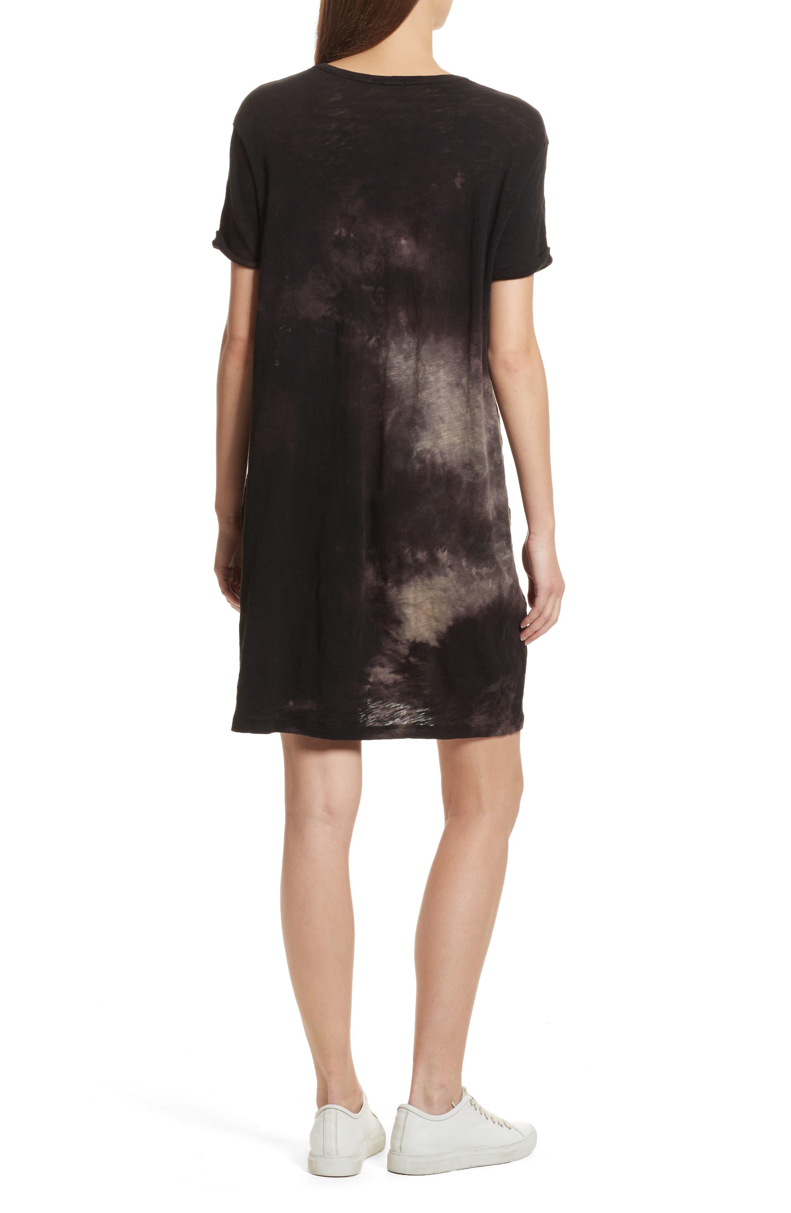 Tie Dye Jersey T-Shirt Dress,                             Alternate thumbnail 2, color,                             Black Tie Die