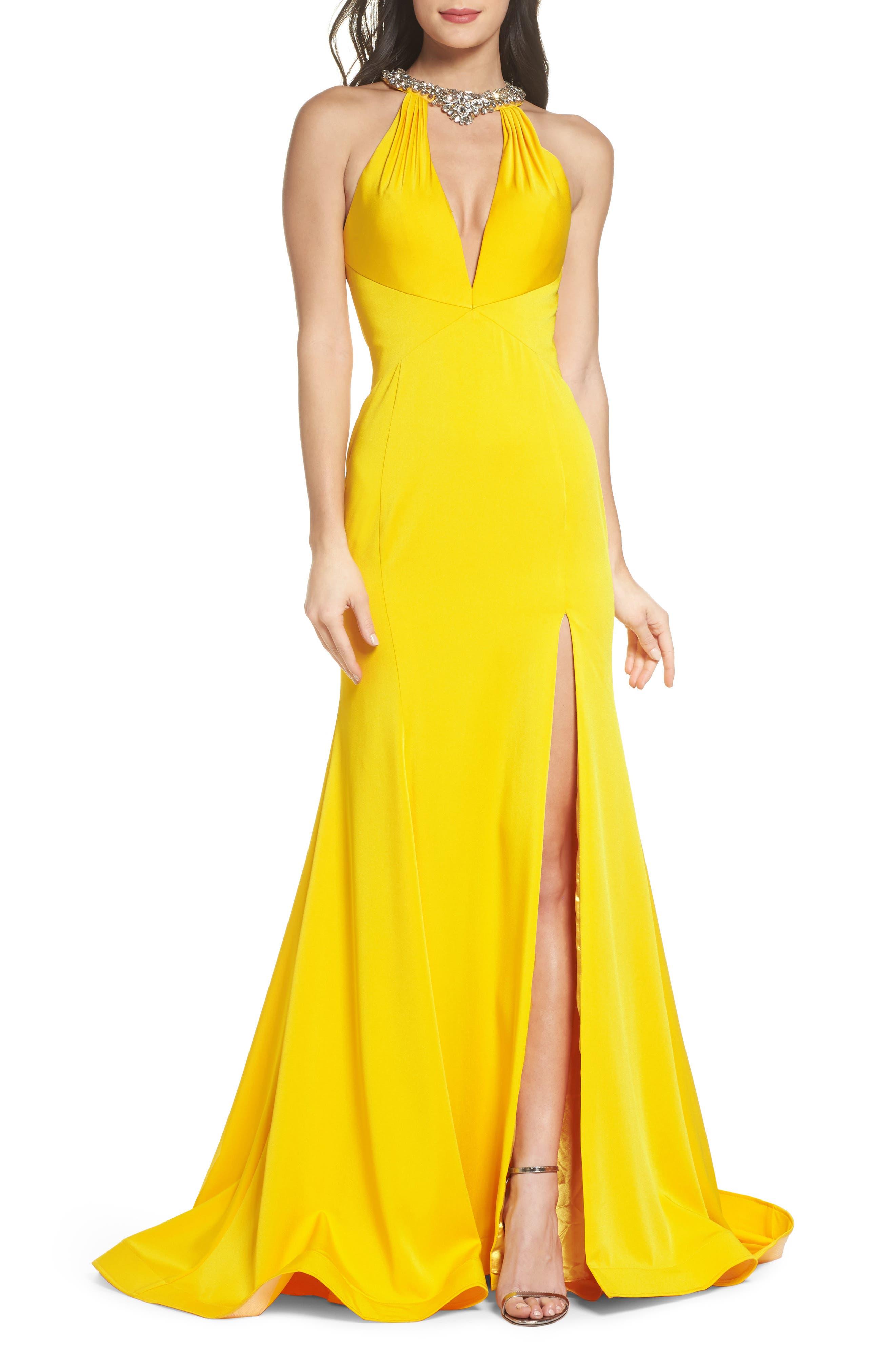 Jewel Neck Mermaid Gown,                             Main thumbnail 1, color,                             Sunshine