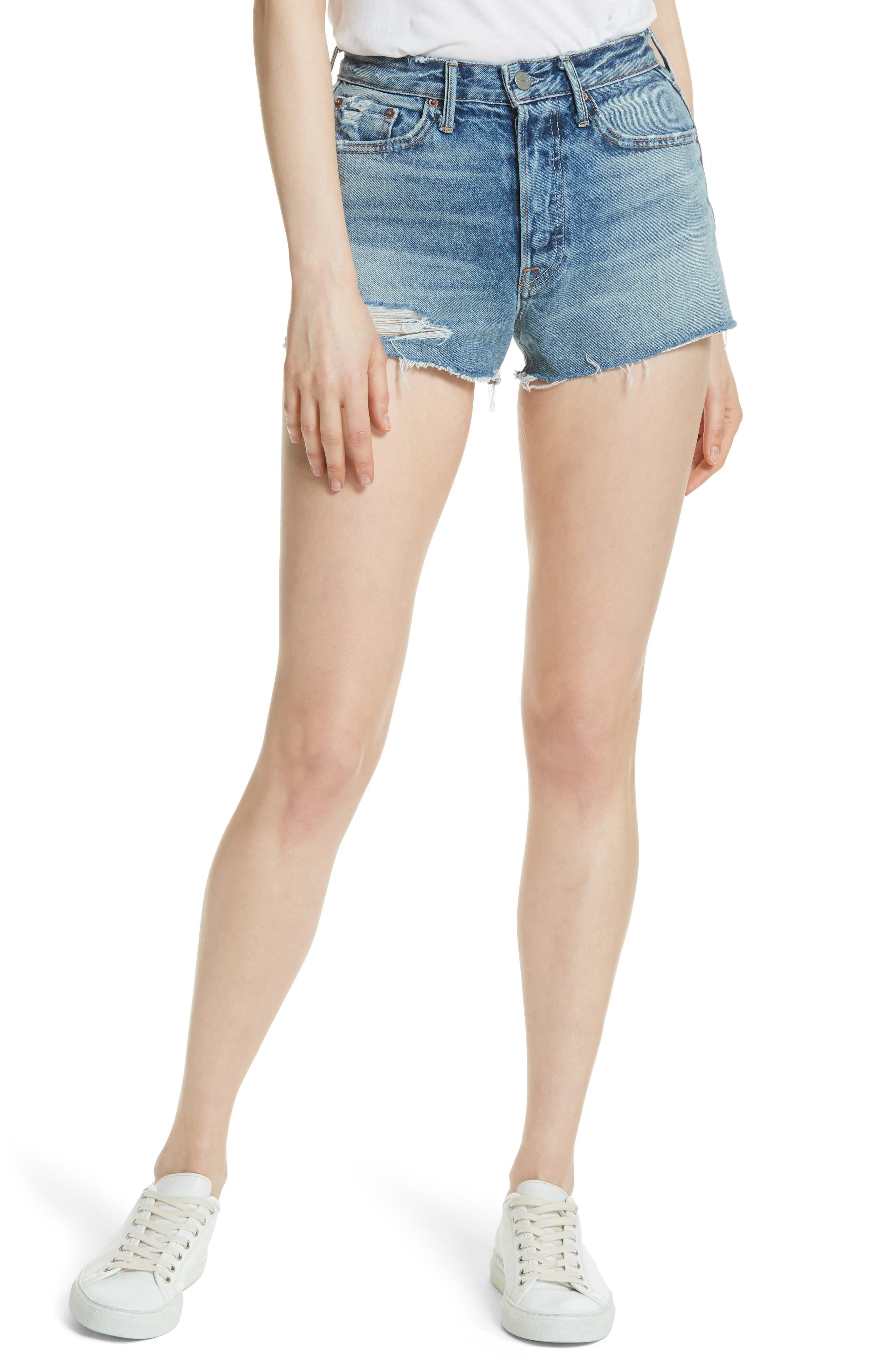 Main Image - GRLFRND Cindy Rigid High Waist Denim Shorts (Stoned)