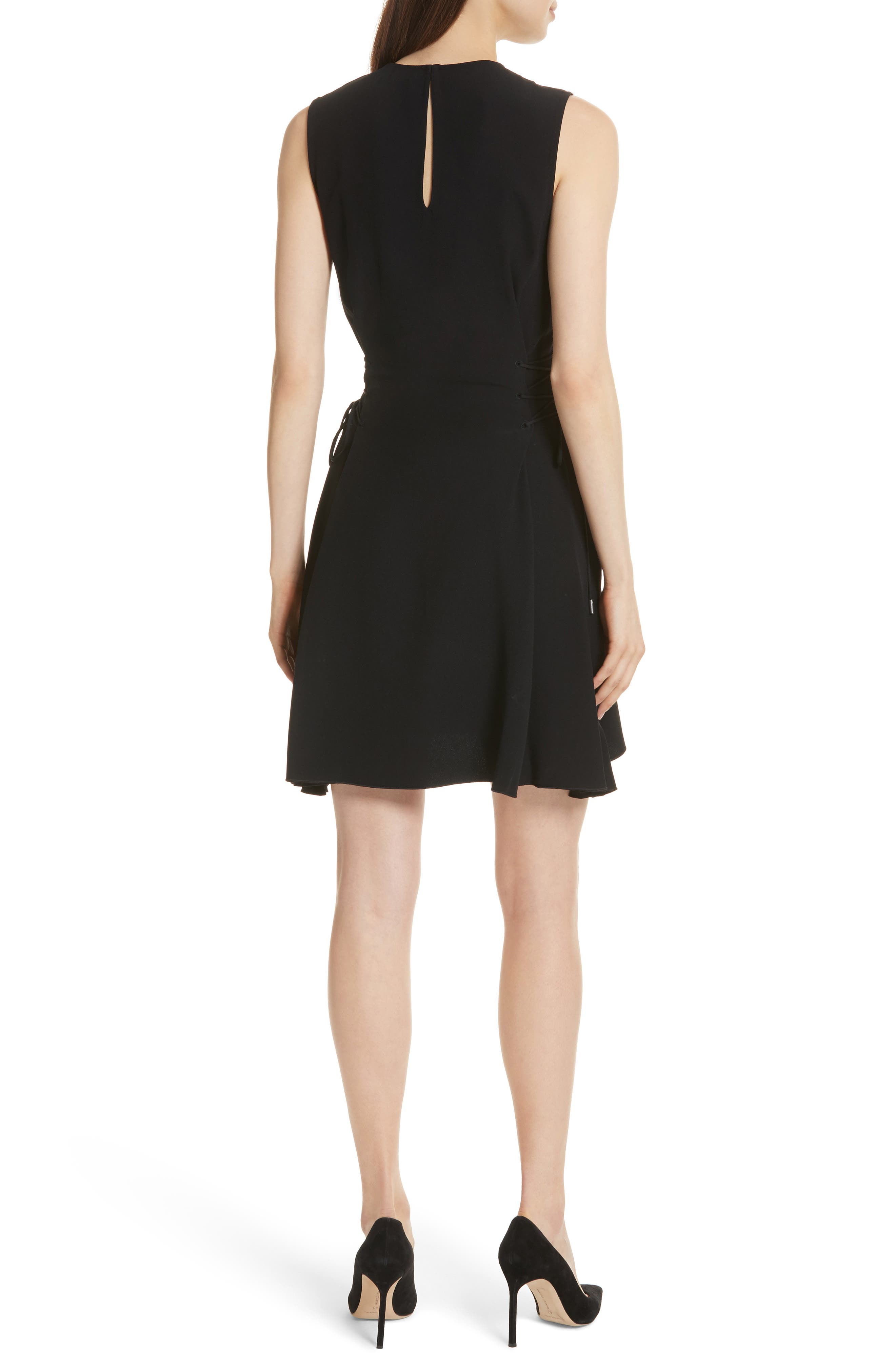 Lace-Up Fit & Flare Dress,                             Alternate thumbnail 2, color,                             Black