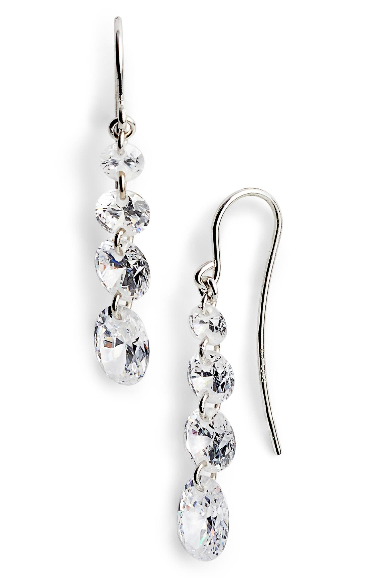 Four-Stone Briolette Drop Earrings,                             Main thumbnail 1, color,                             Platinum
