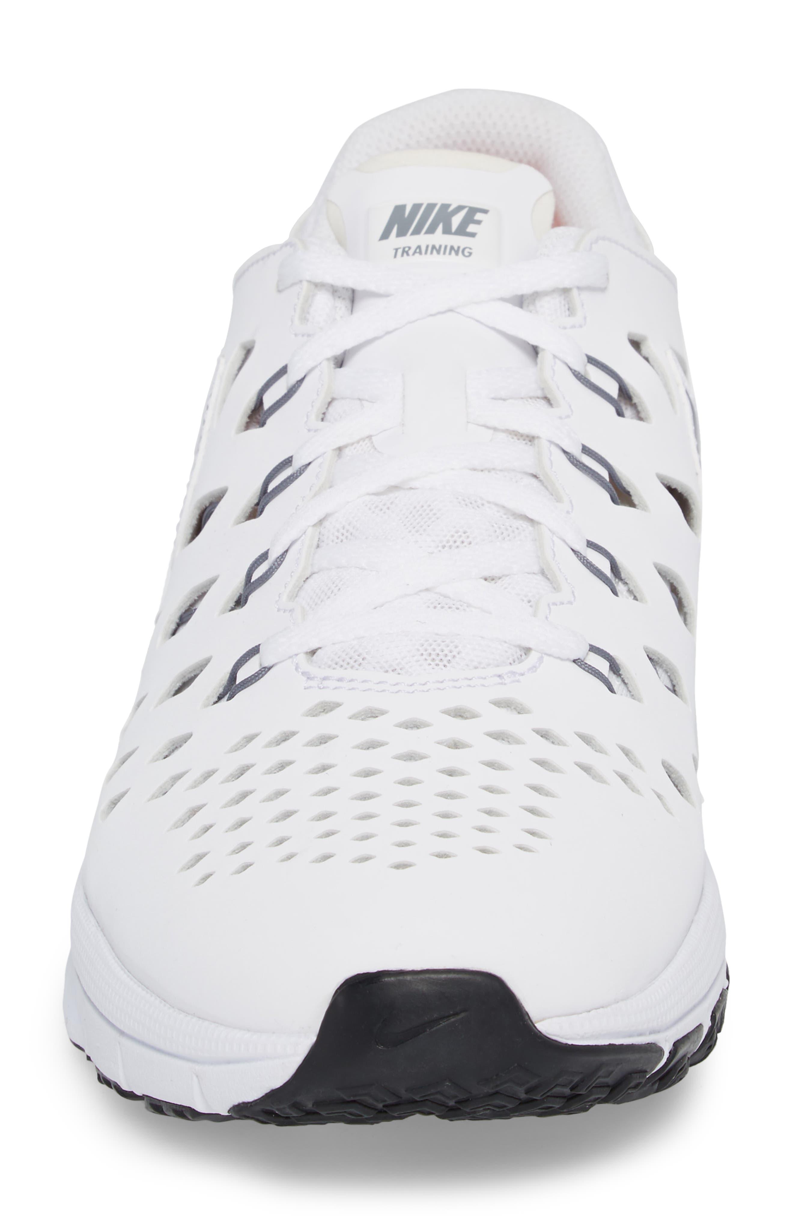 Air Trainer 180 Training Shoe,                             Alternate thumbnail 4, color,                             White/ Cool Grey-Black