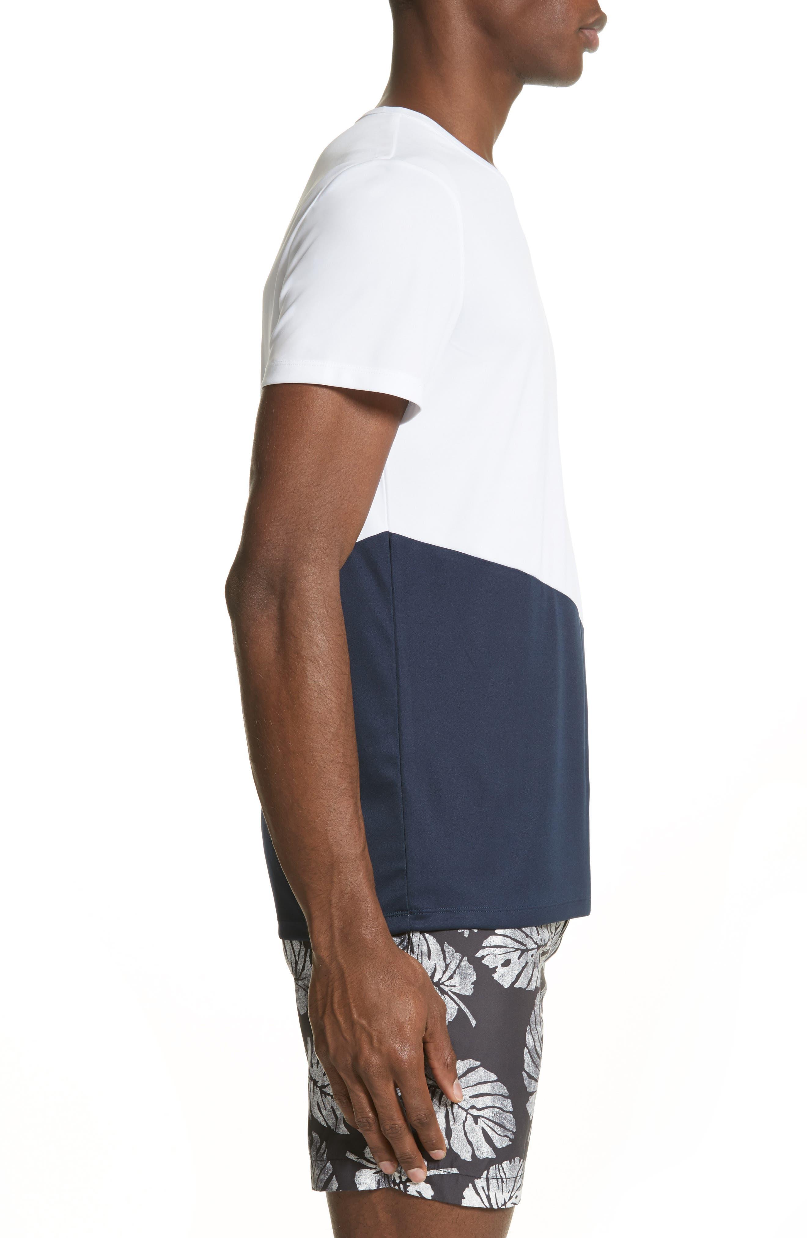 Colorblock Crewneck T-Shirt,                             Alternate thumbnail 3, color,                             Deep Navy/ White