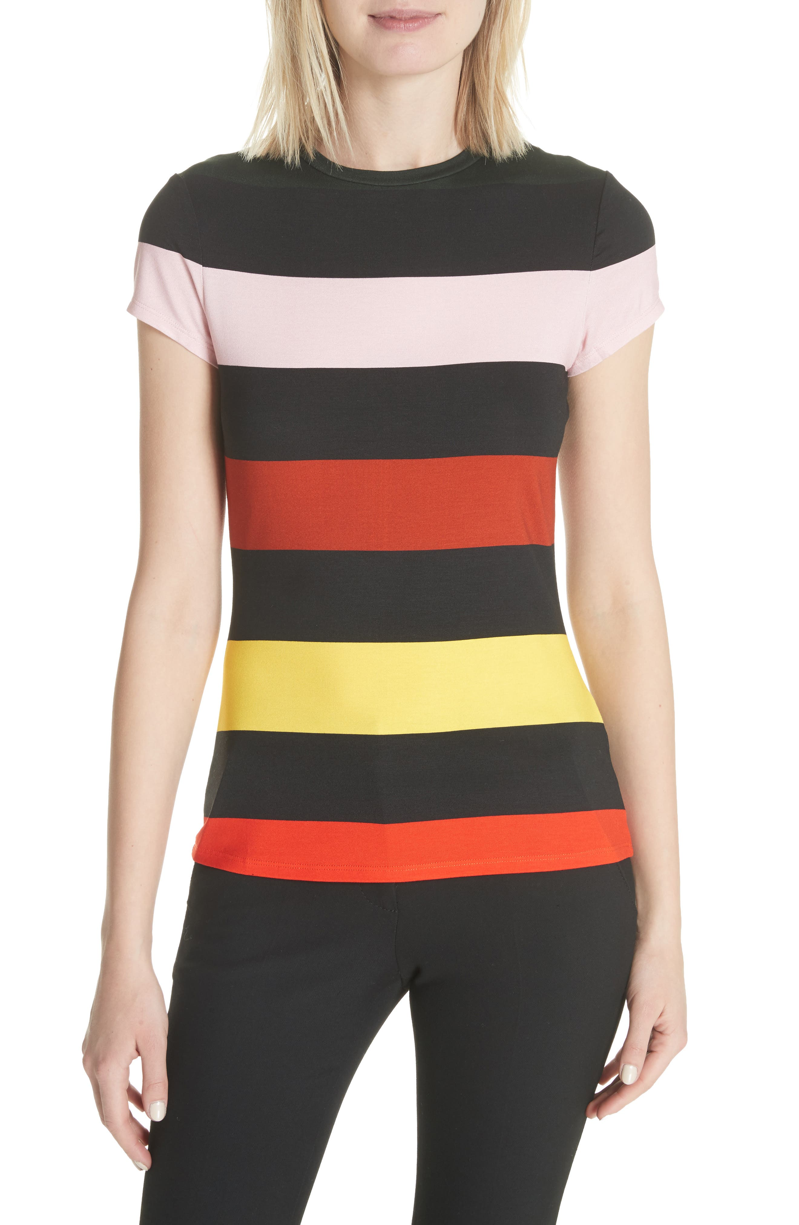 Cruise Stripe Fitted Tee,                         Main,                         color, Black