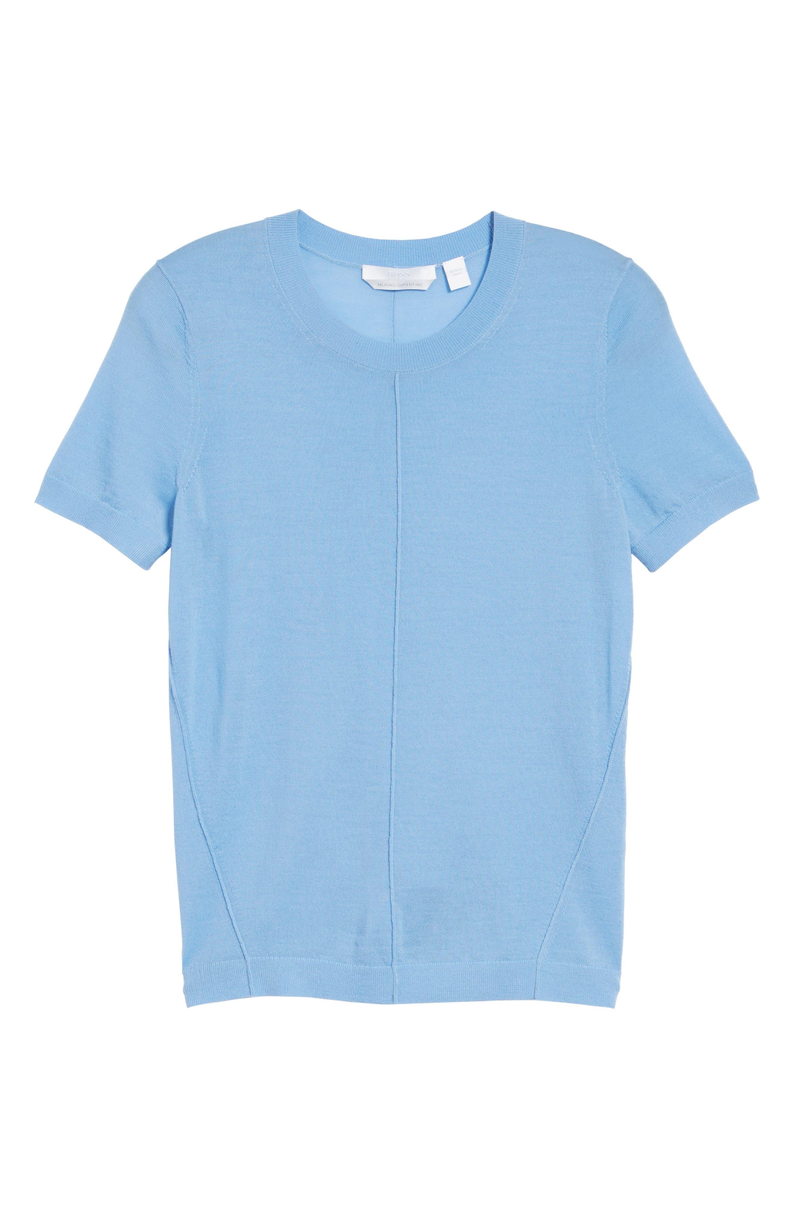 Fuyuka Wool Sweater,                             Alternate thumbnail 6, color,                             Blue Sky