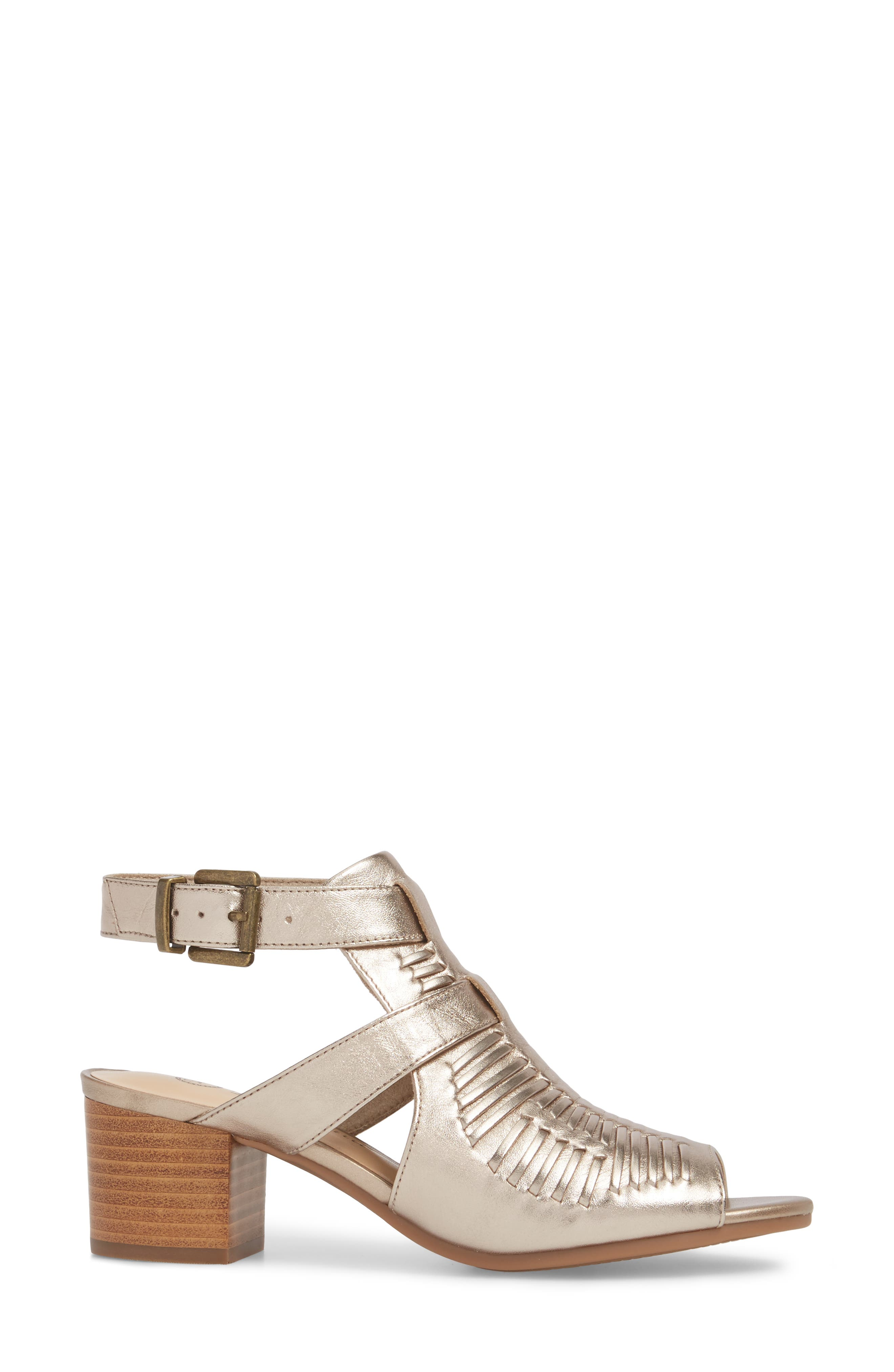 Finley Ankle Strap Sandal,                             Alternate thumbnail 3, color,                             Champagne Fabric