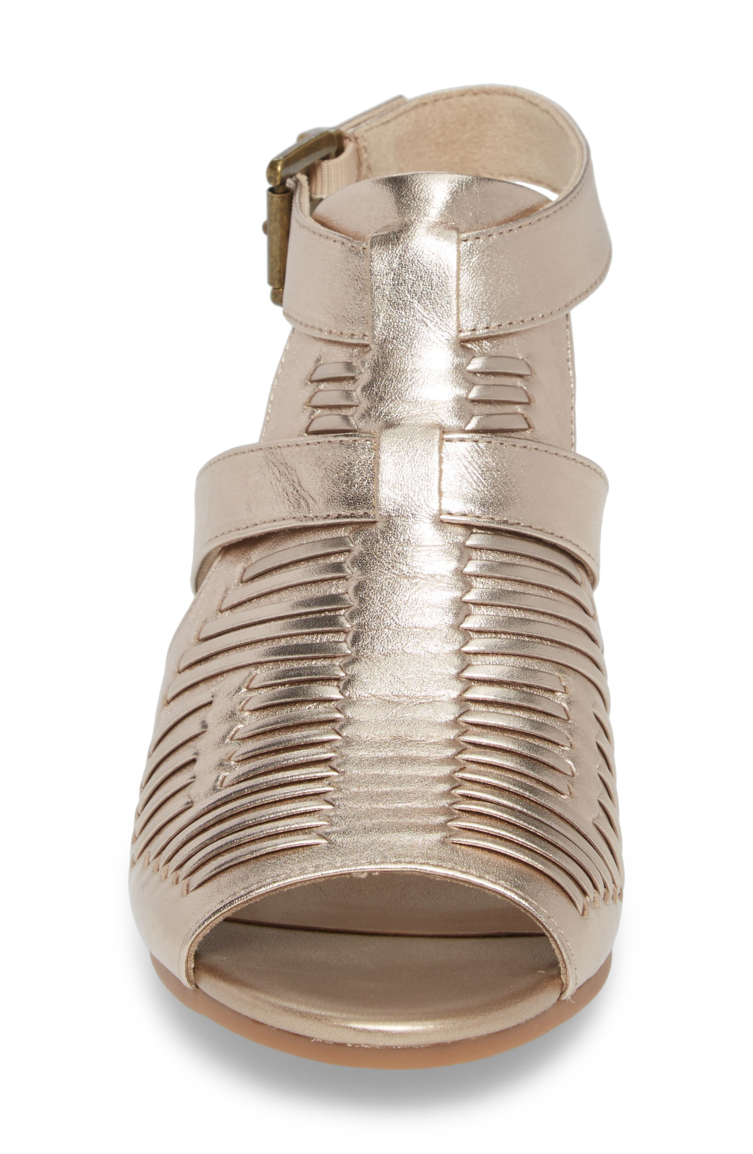 Finley Ankle Strap Sandal,                             Alternate thumbnail 4, color,                             Champagne Fabric