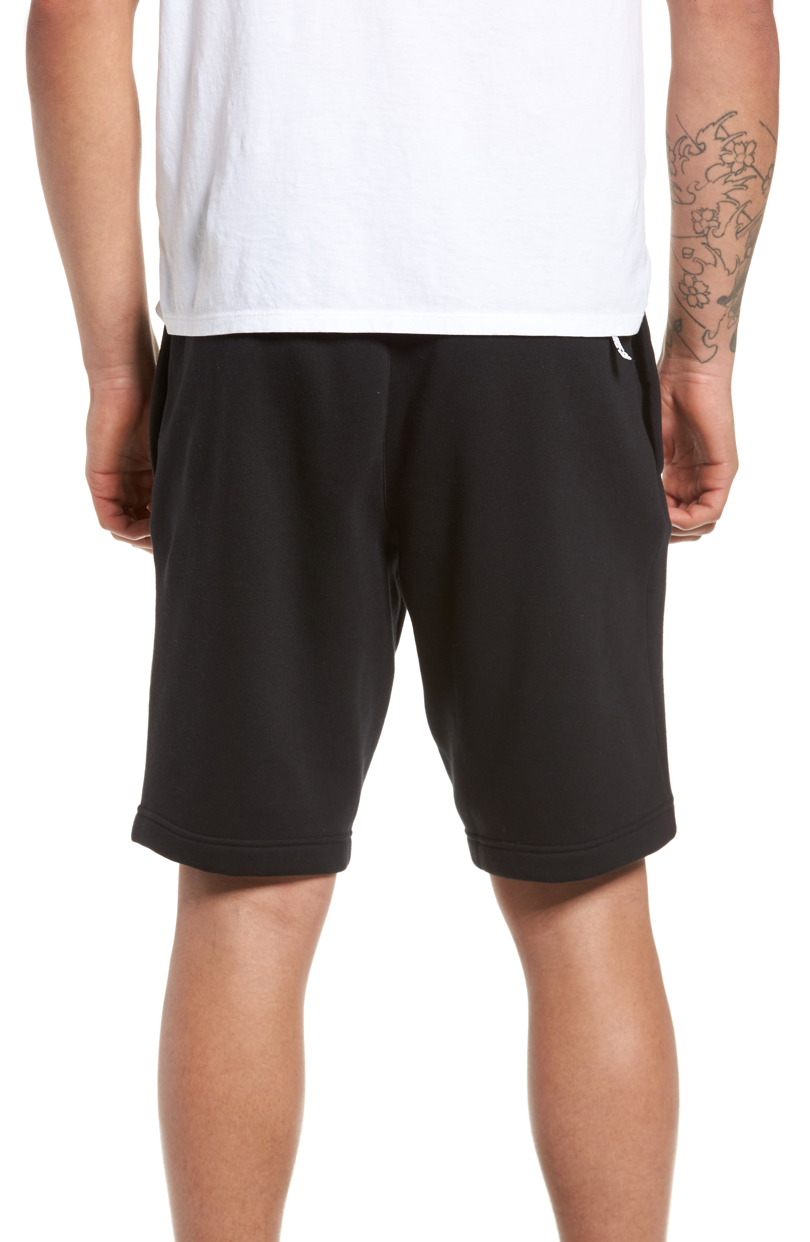 Fleece Shorts,                             Alternate thumbnail 2, color,                             Black/ White
