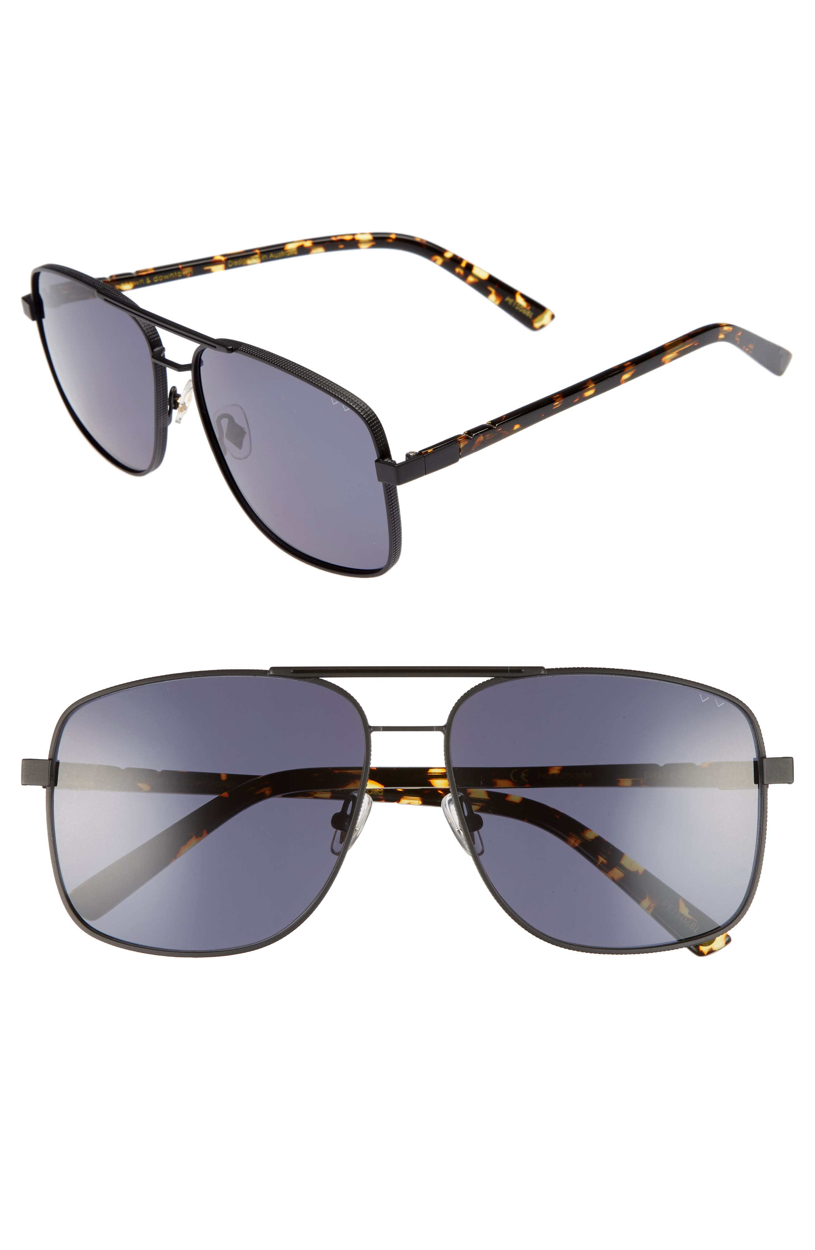 Uptown & Downtown 58mm Aviator Sunglasses,                         Main,                         color, Matte Black Grey