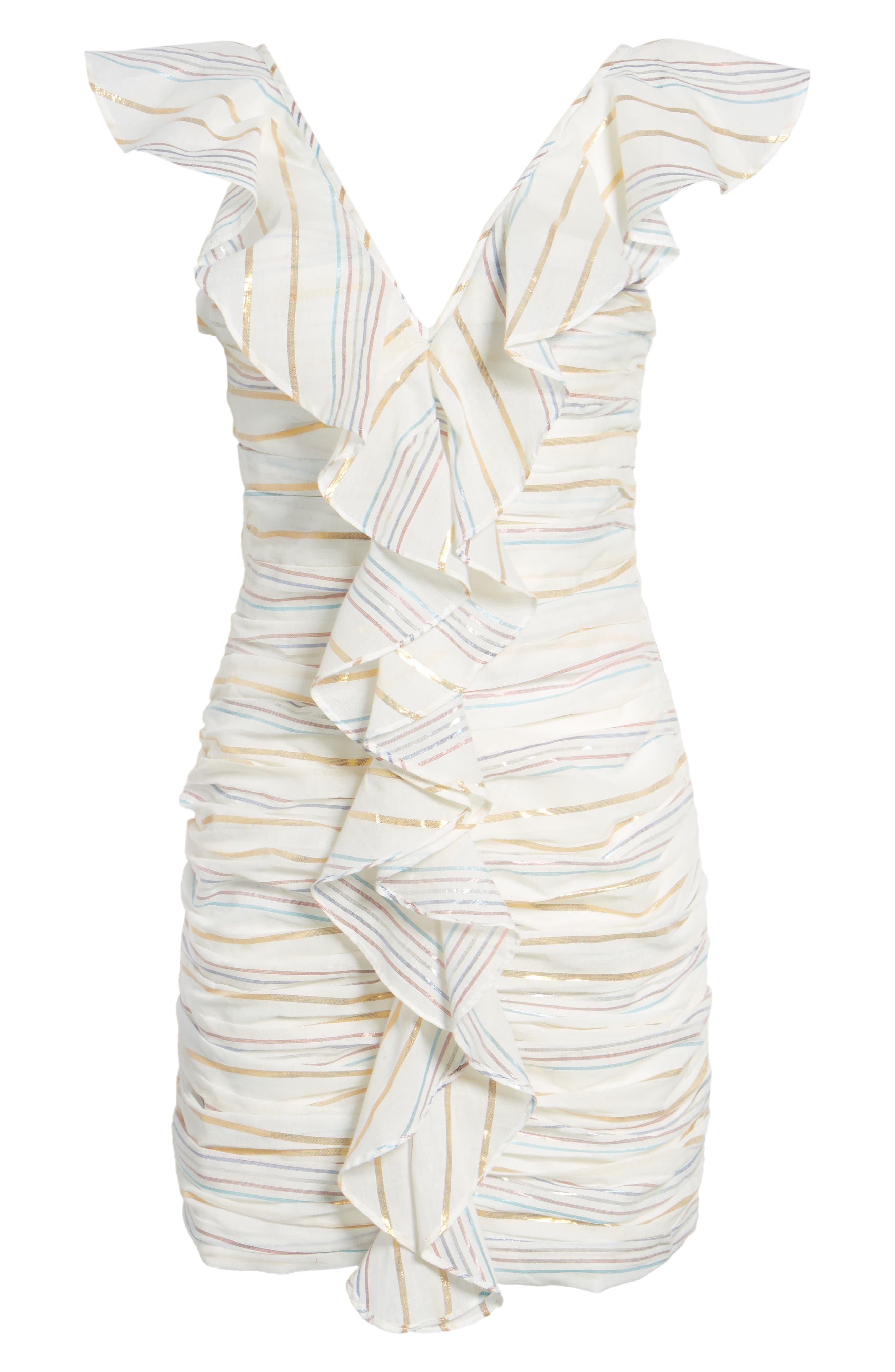 Brittany Ruffle Dress,                             Alternate thumbnail 6, color,                             Marshmallow