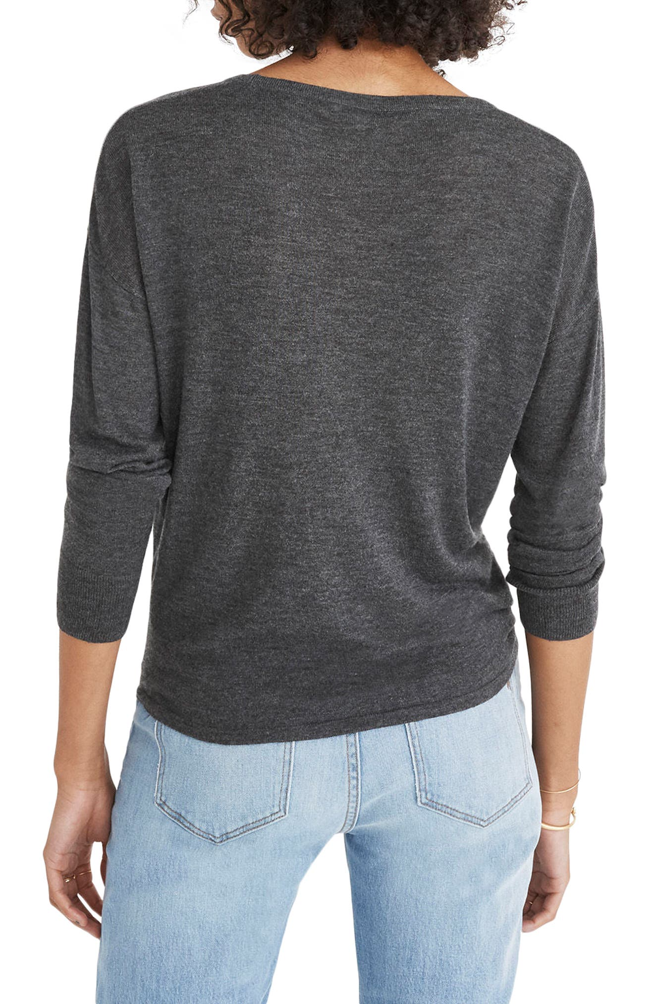 Modern Tie Front Sweater,                             Alternate thumbnail 2, color,                             Heather Cavern