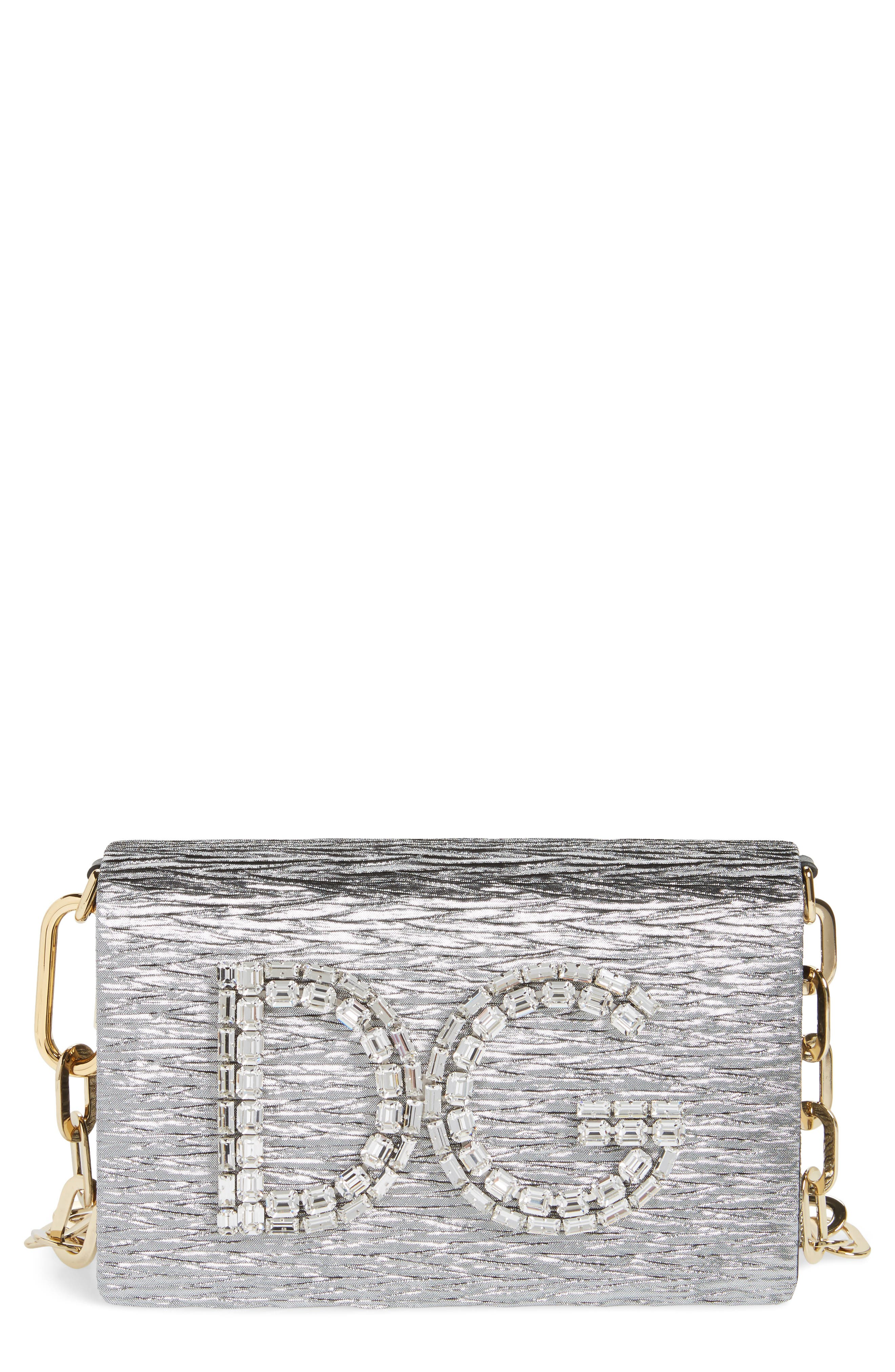 Main Image - Dolce&Gabbana Girls Crystal Logo Lamé Shoulder Bag