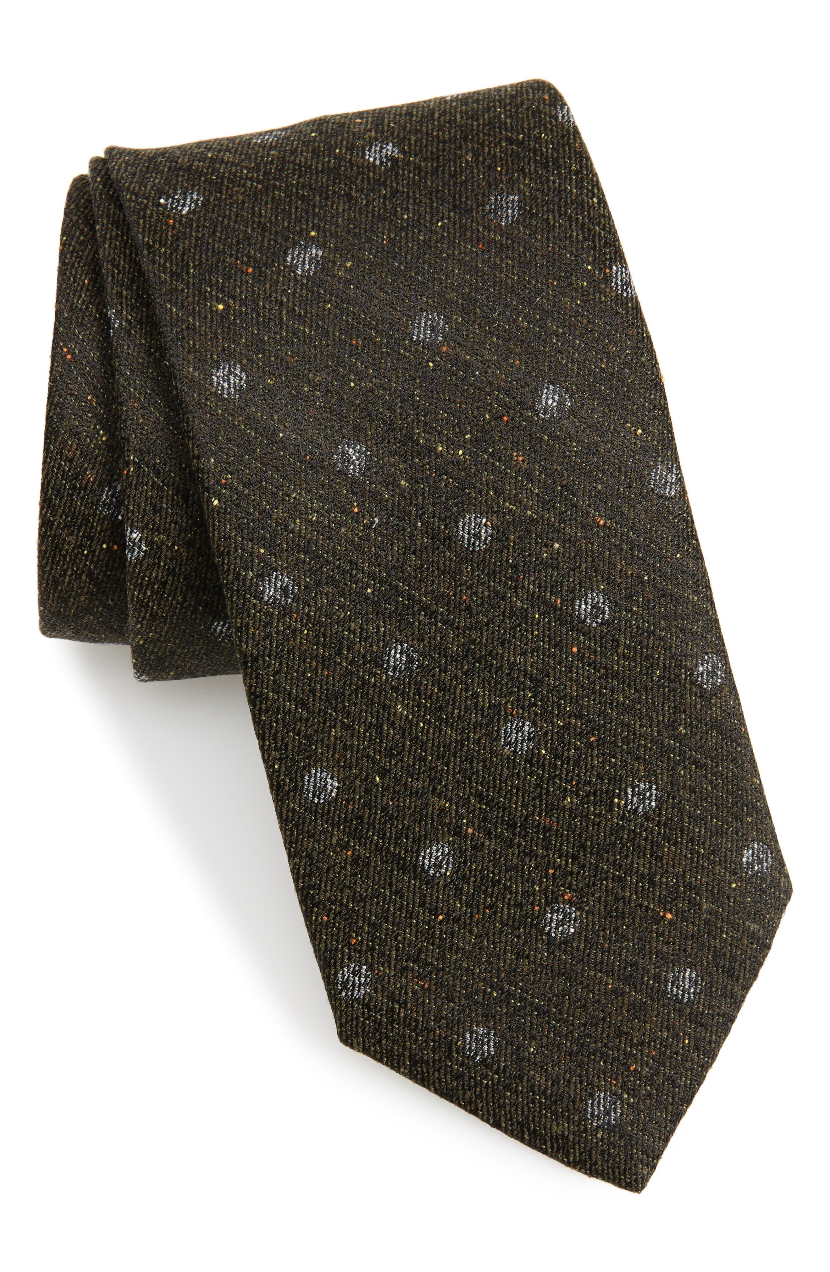 Landham Dot Silk Tie,                             Main thumbnail 1, color,                             Black