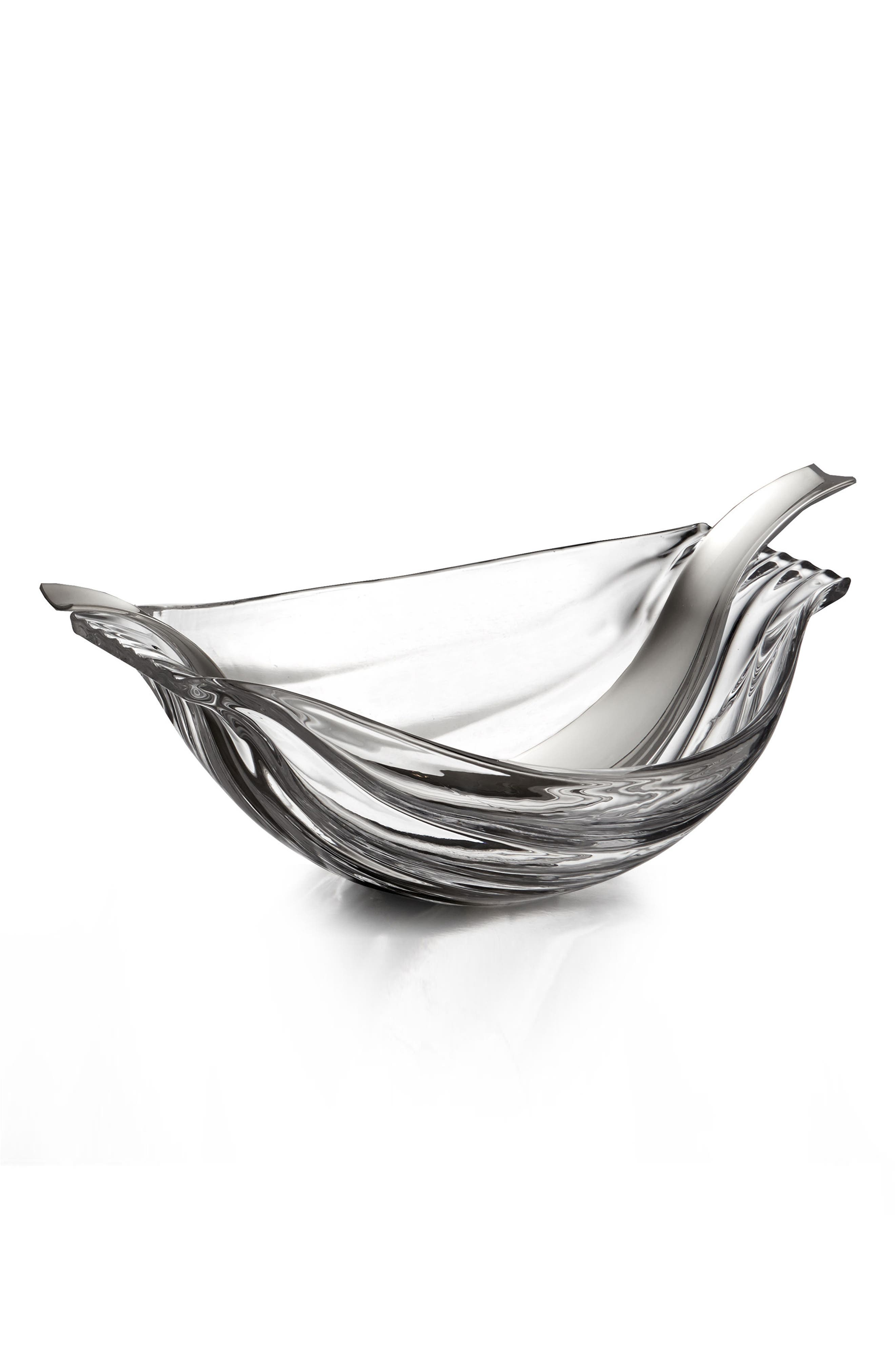 Drift Glass Salad Bowl & Servers,                         Main,                         color, Clear Silver