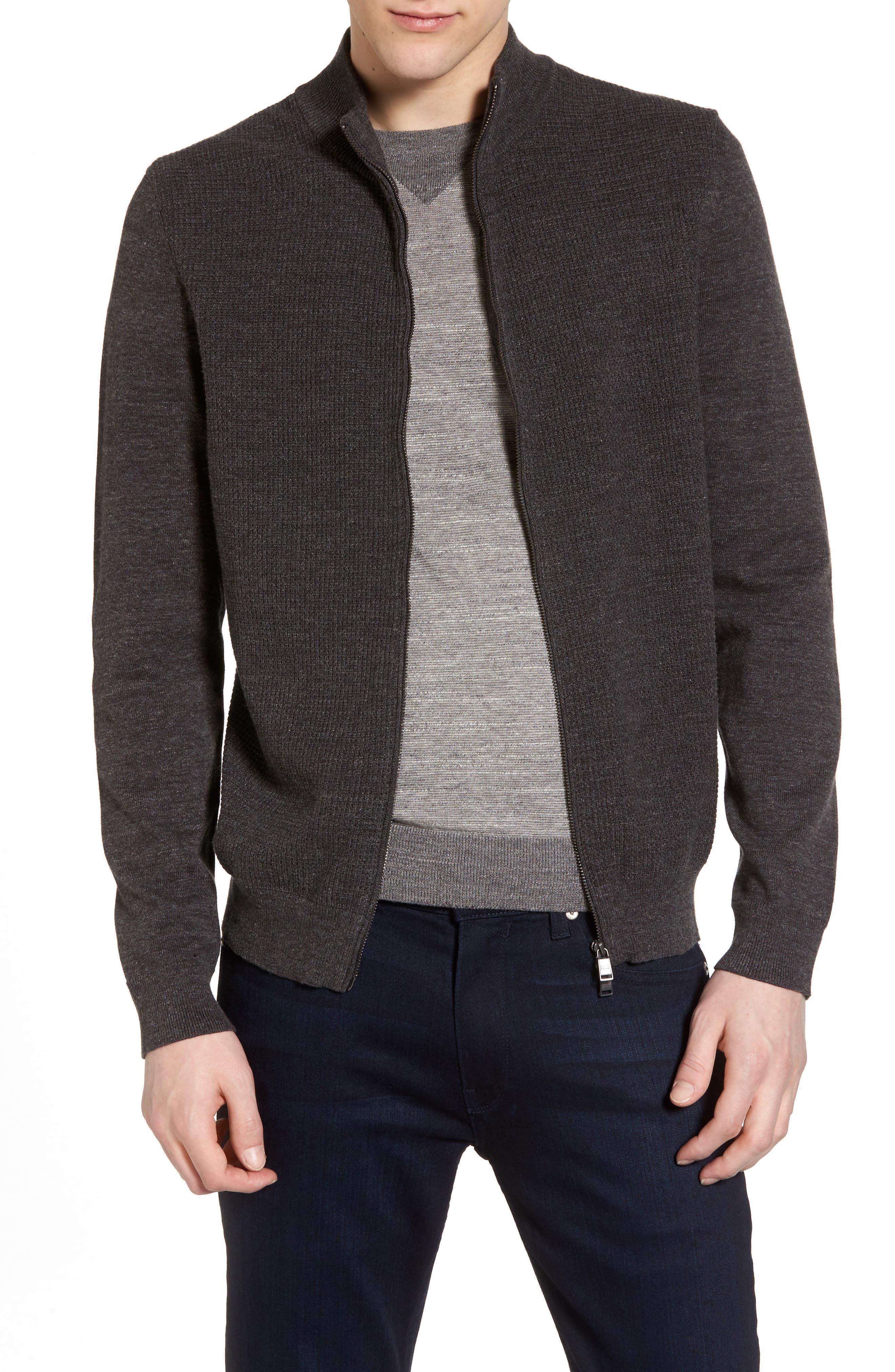 Devino Cotton Zip Jacket,                             Main thumbnail 1, color,                             Grey