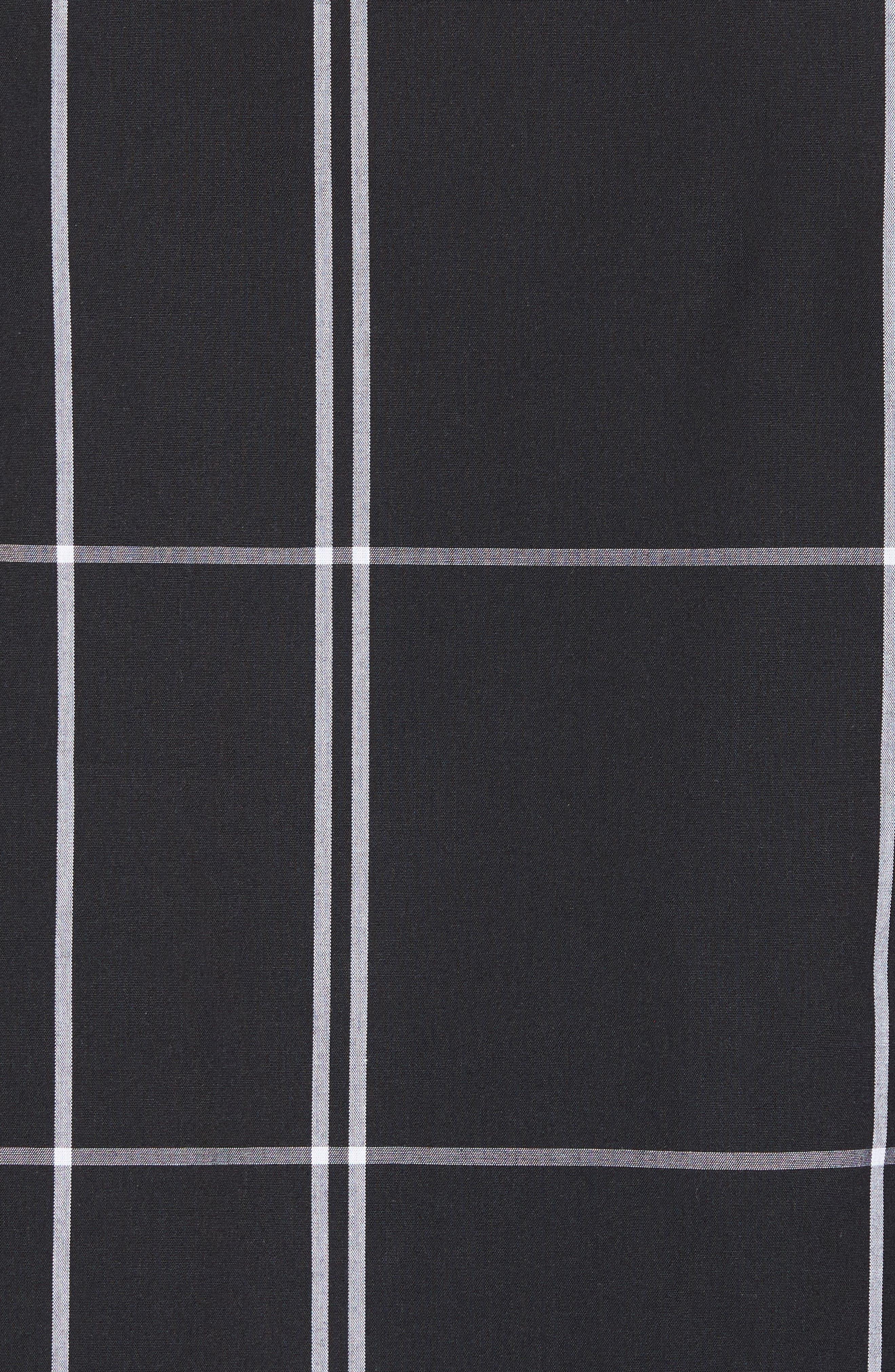 Trim Fit Windowpane Sport Shirt,                             Alternate thumbnail 5, color,                             Black Exploded Pane