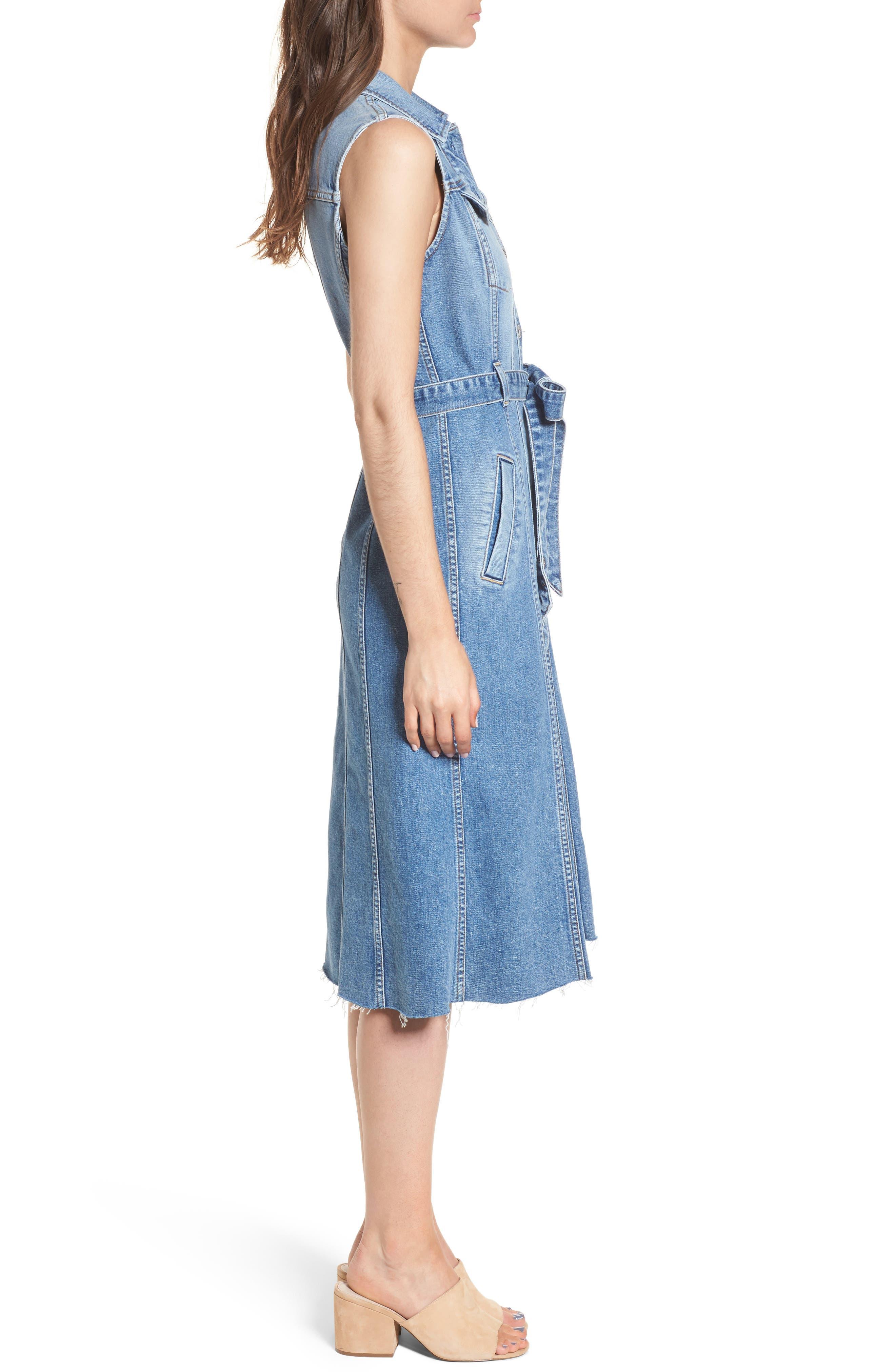 Trucker Denim Midi Dress,                             Alternate thumbnail 3, color,                             Desert Oasis 6