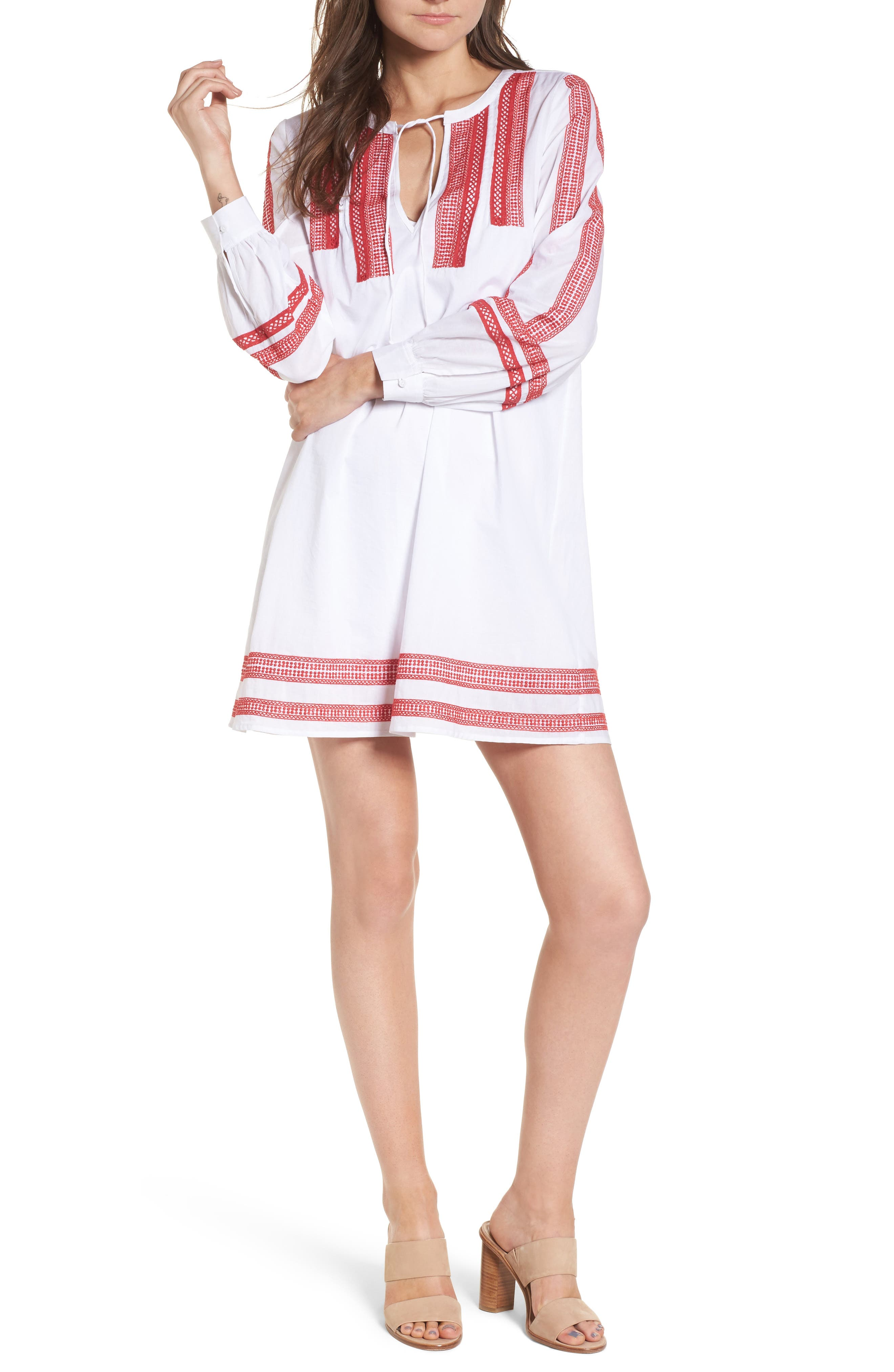 Embroidered Lace Minidress,                             Main thumbnail 1, color,                             White Red Lipstick Embroidery