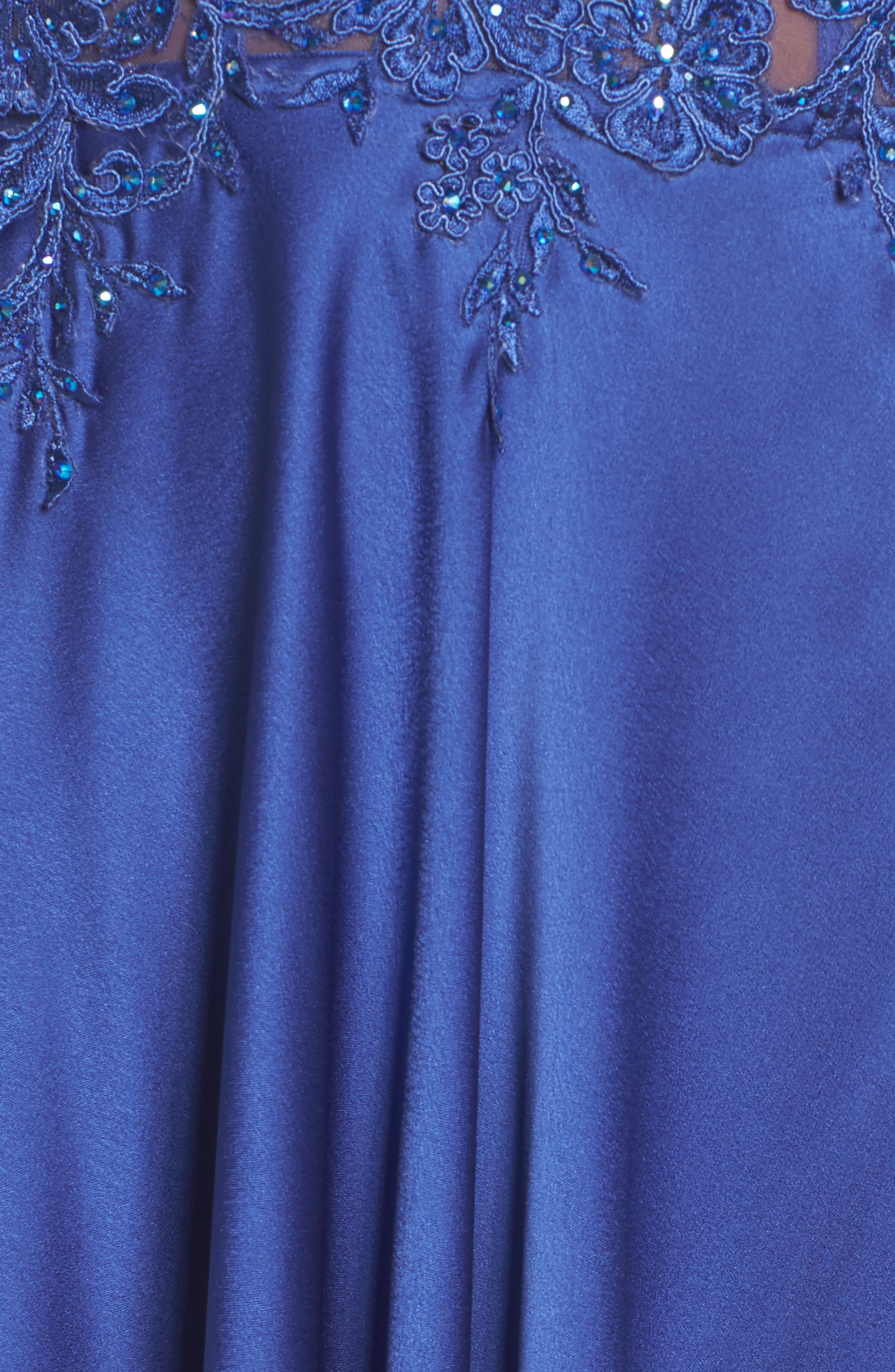 Embroidered Off the Shoulder Satin A-Line Gown,                             Alternate thumbnail 6, color,                             Dark Periwinkle