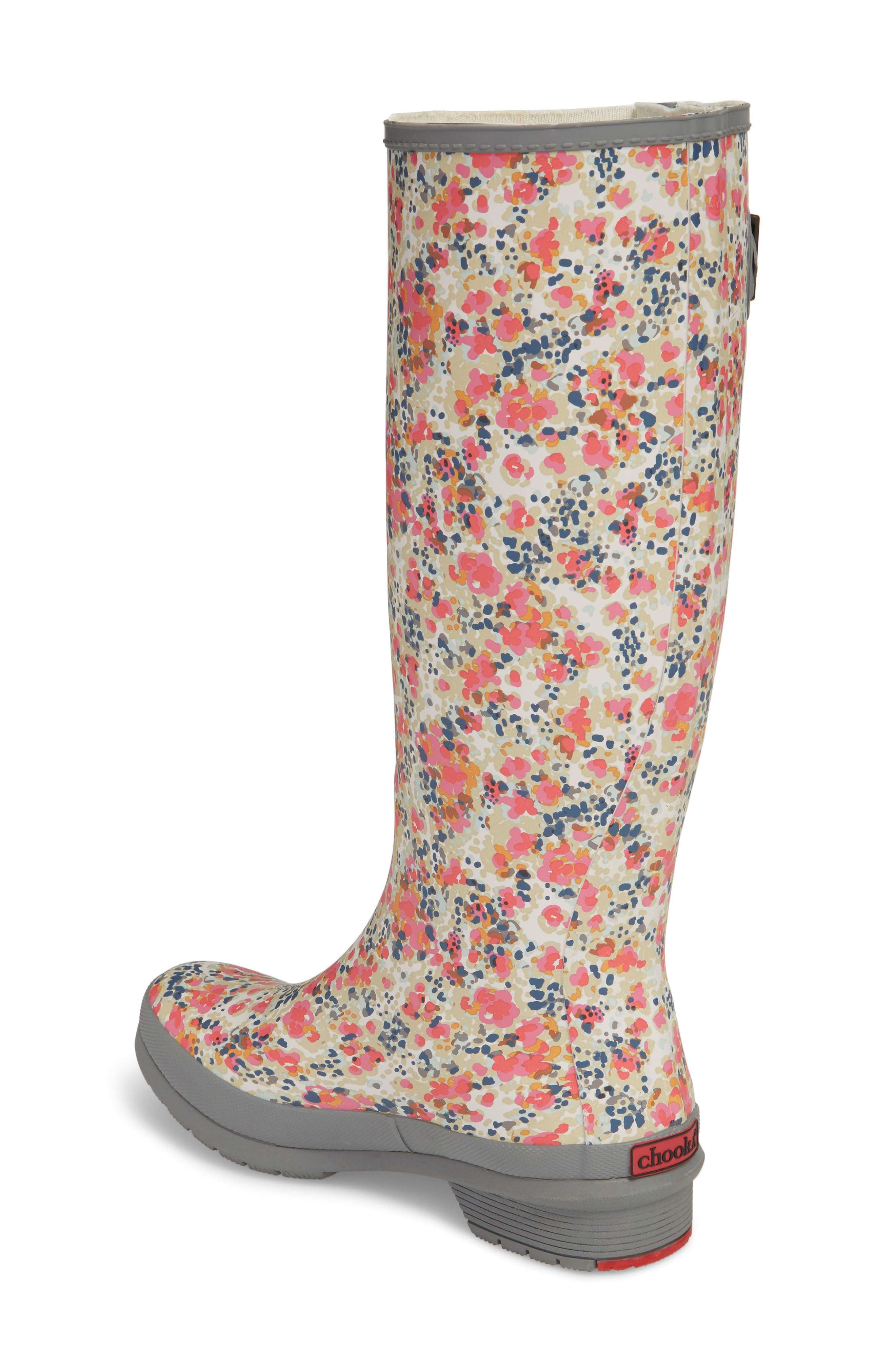 Julia Floral Waterproof Rain Boot,                             Alternate thumbnail 2, color,                             Gray