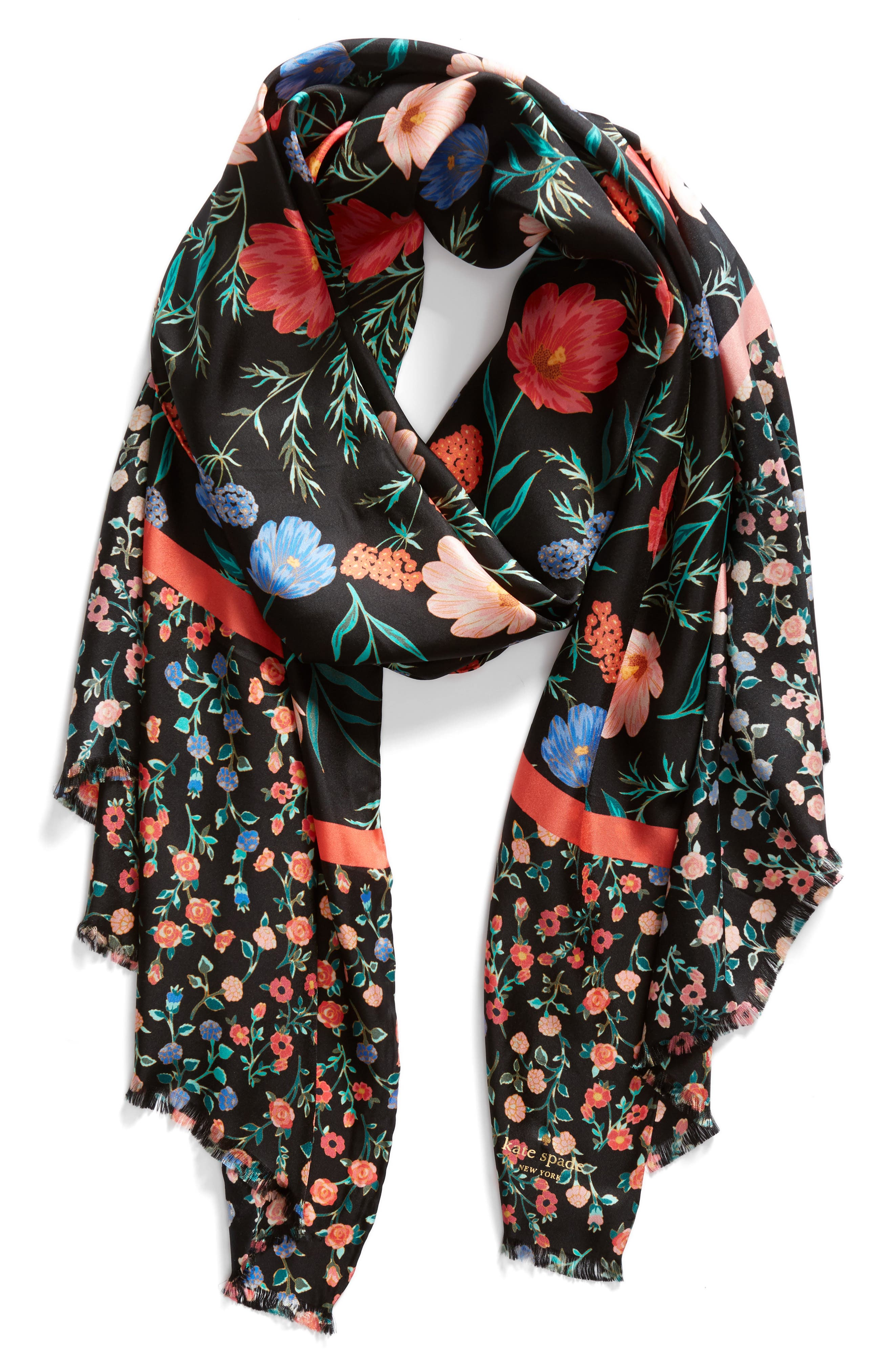 blossom silk scarf,                             Alternate thumbnail 3, color,                             Black