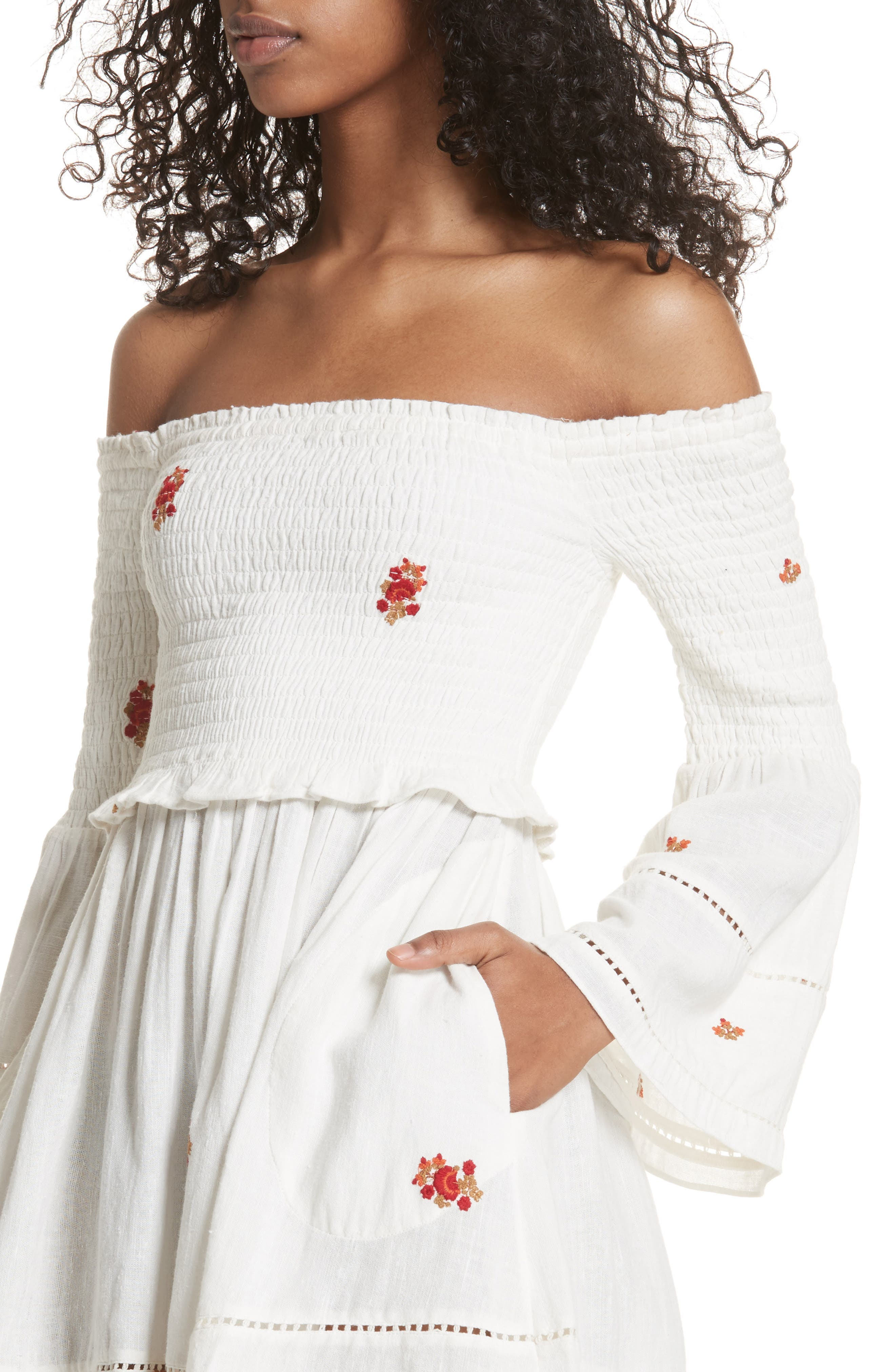 Alternate Image 4  - Free People Counting Daisies Embroidered Off the Shoulder Dress
