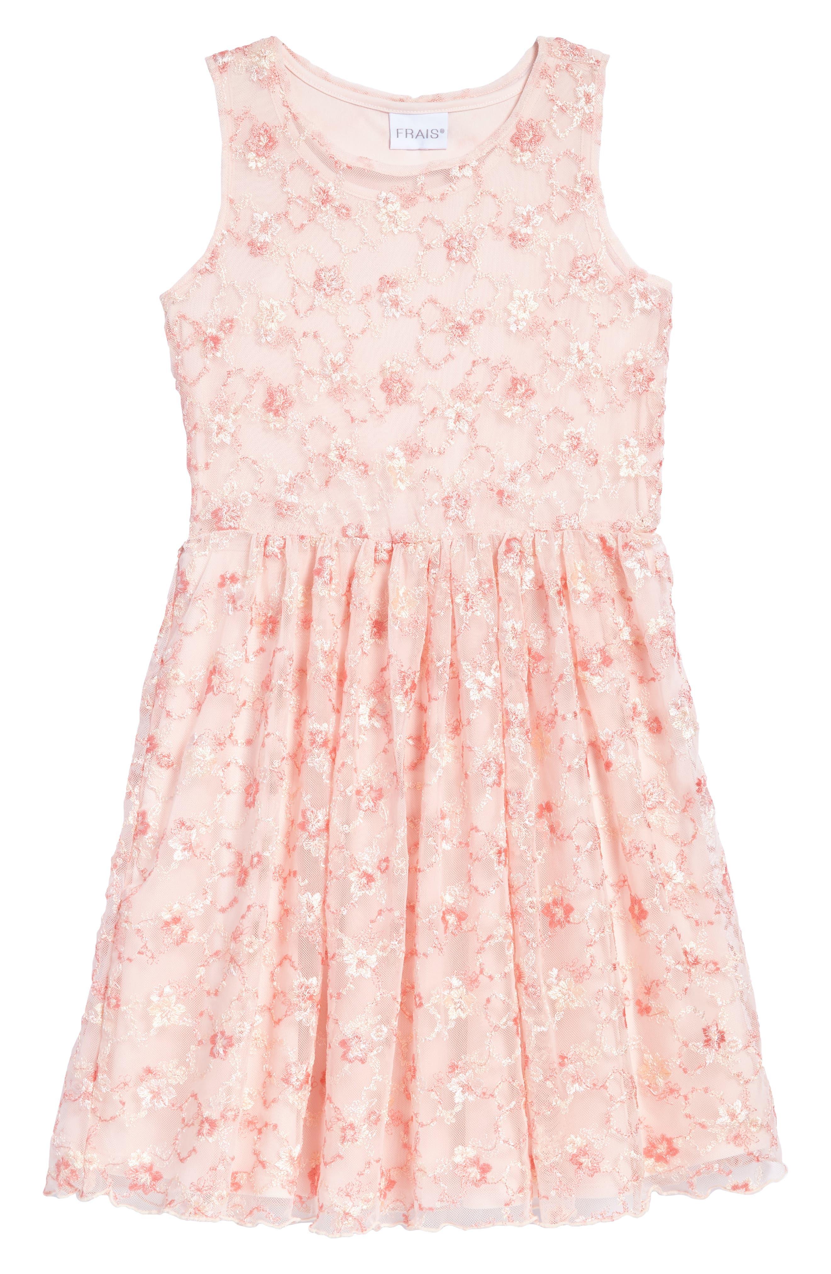 Main Image - Frais Floral Embroidered Tulle Dress (Toddler Girls, Little Girls & Big Girls)
