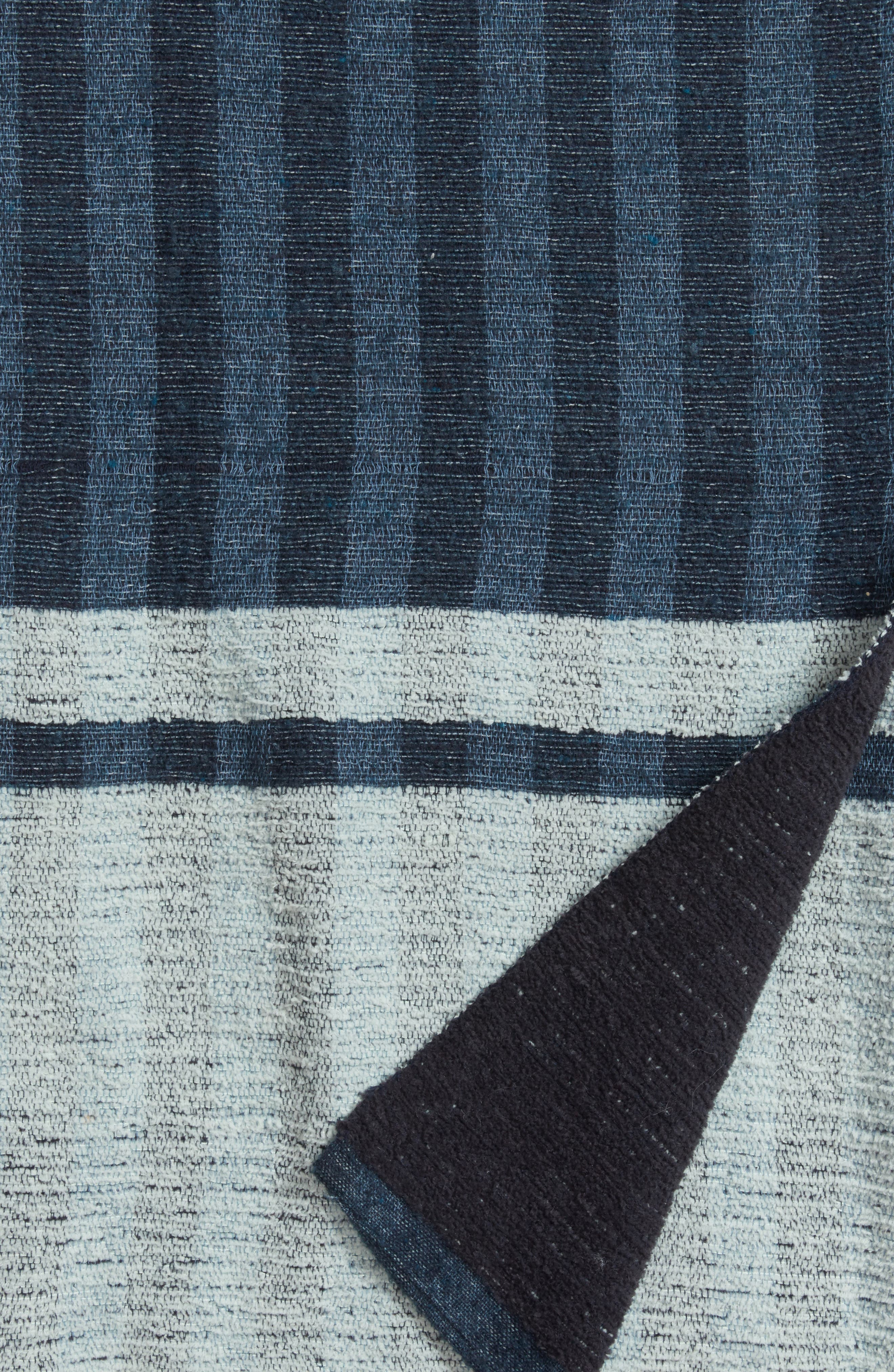 Reversible Stripe Throw,                             Alternate thumbnail 4, color,                             Navy Armada