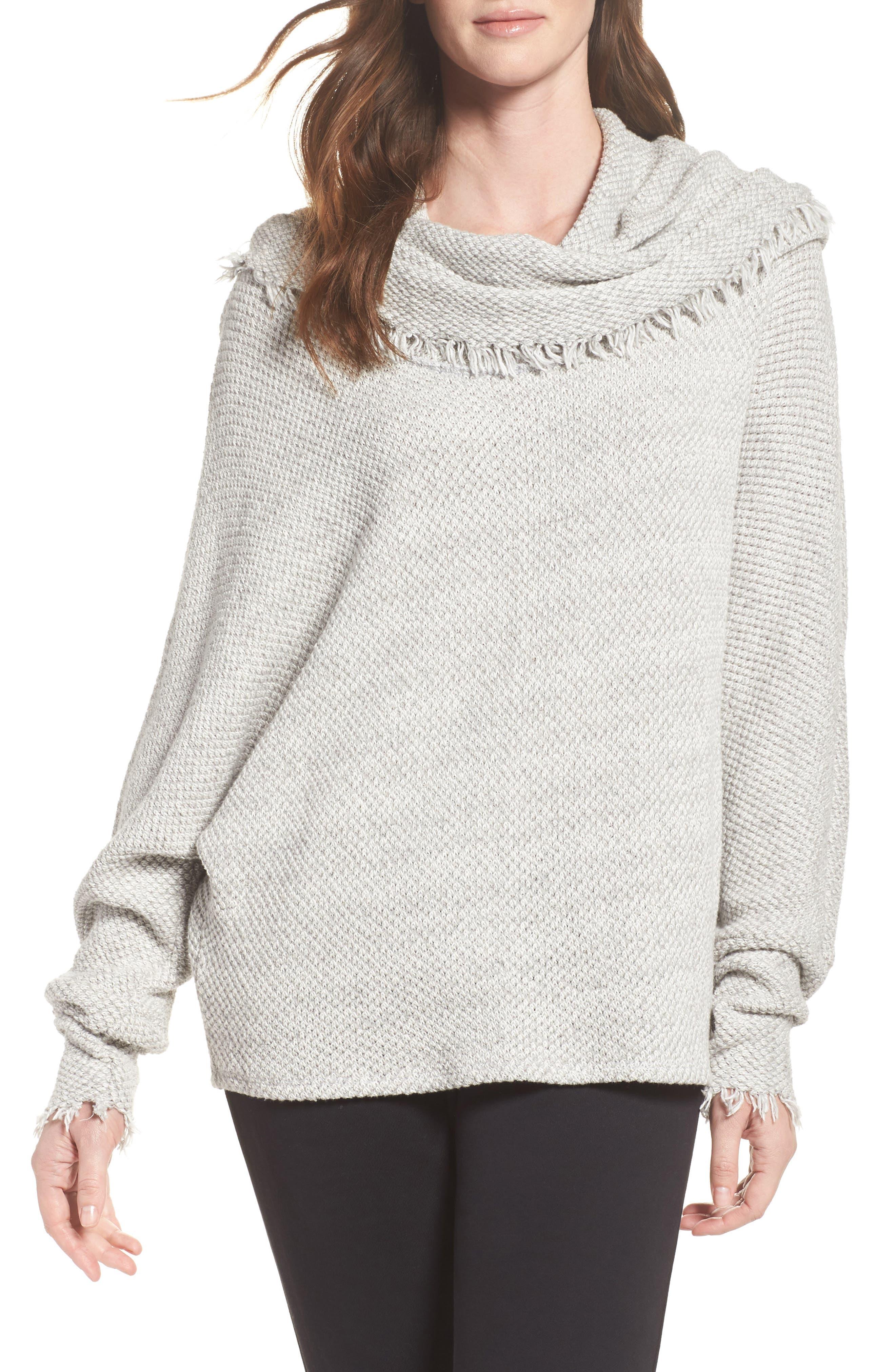 Oversize Turtleneck Sweater,                             Main thumbnail 1, color,                             Heather Grey