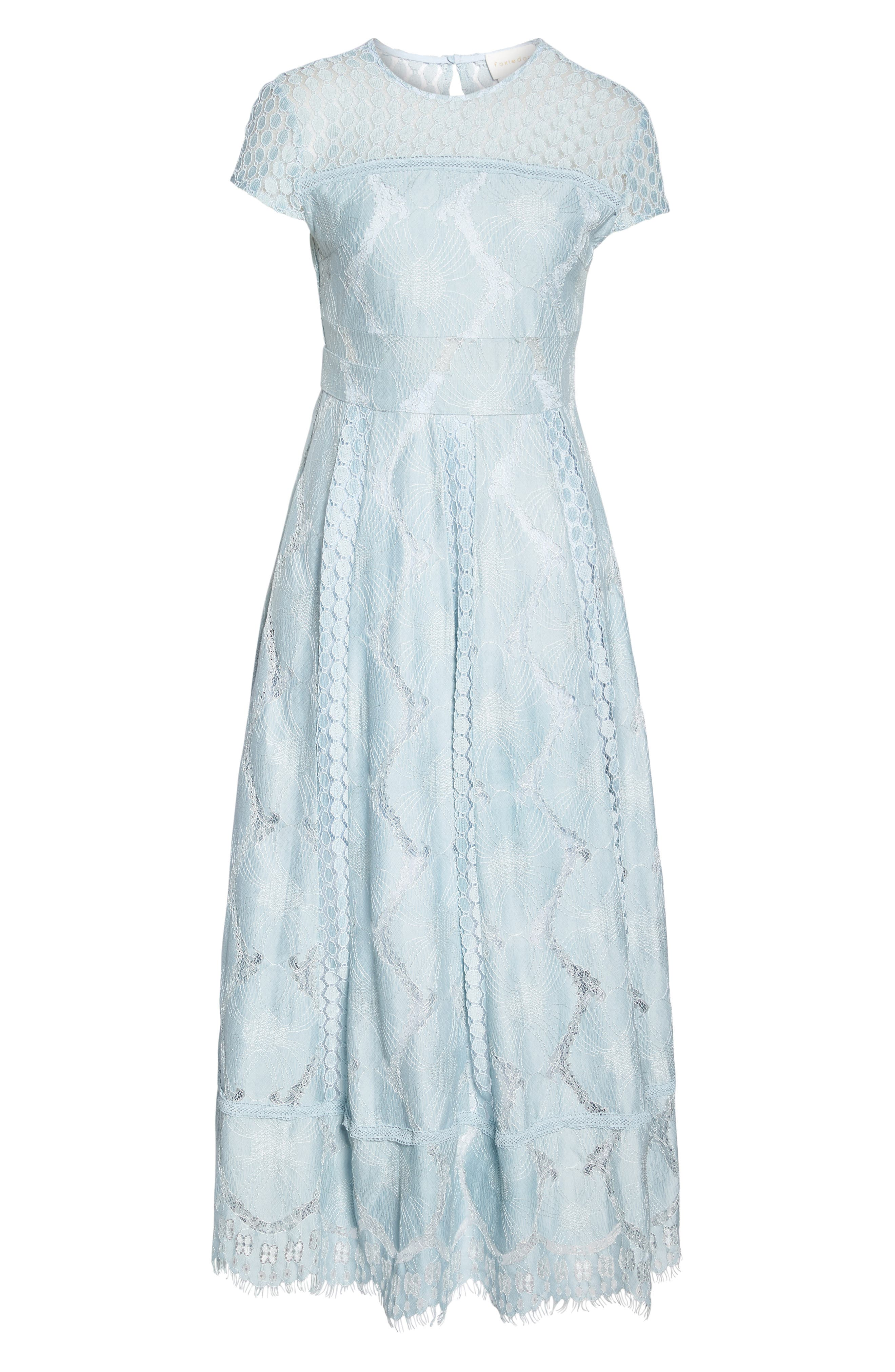 Theodora Lace Midi Dress,                             Alternate thumbnail 6, color,                             Bluebell