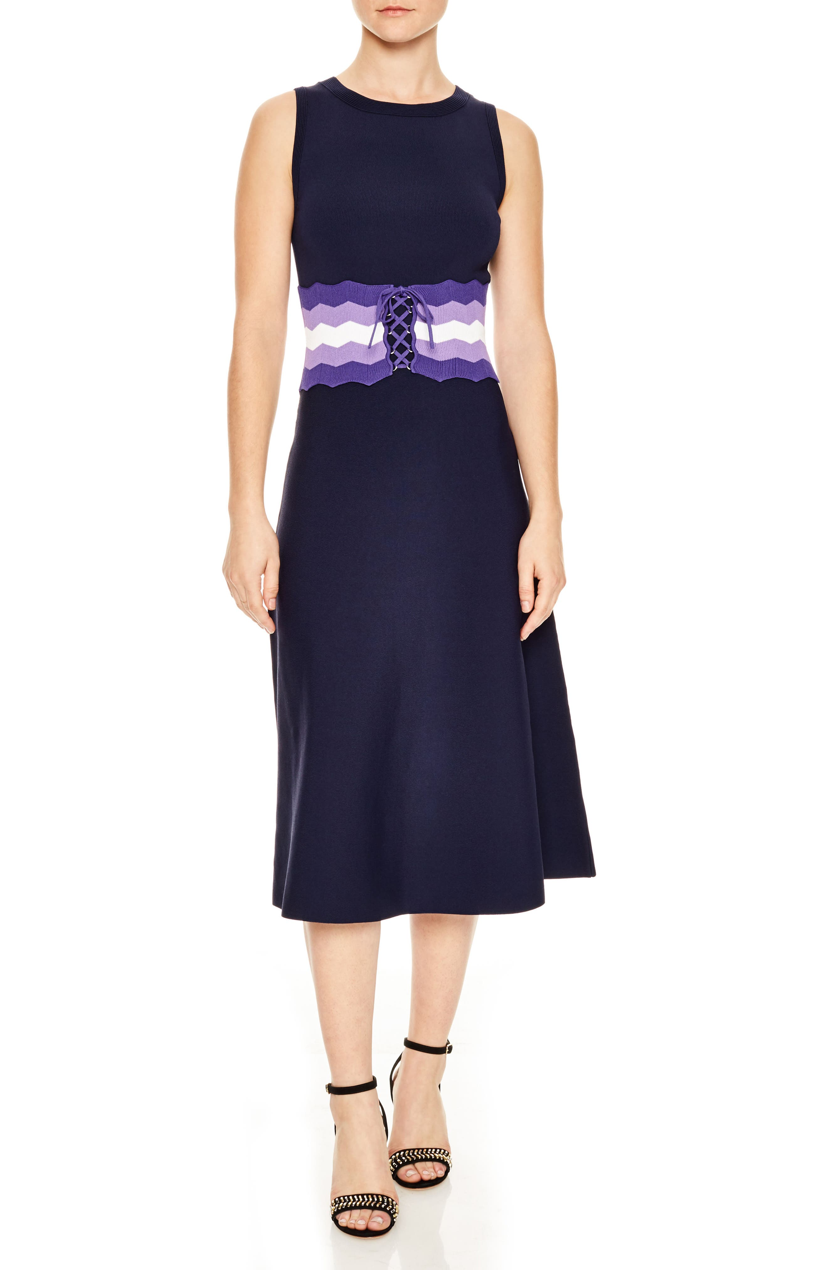 Belted Knit Midi Dress,                             Main thumbnail 1, color,                             Navy Blue