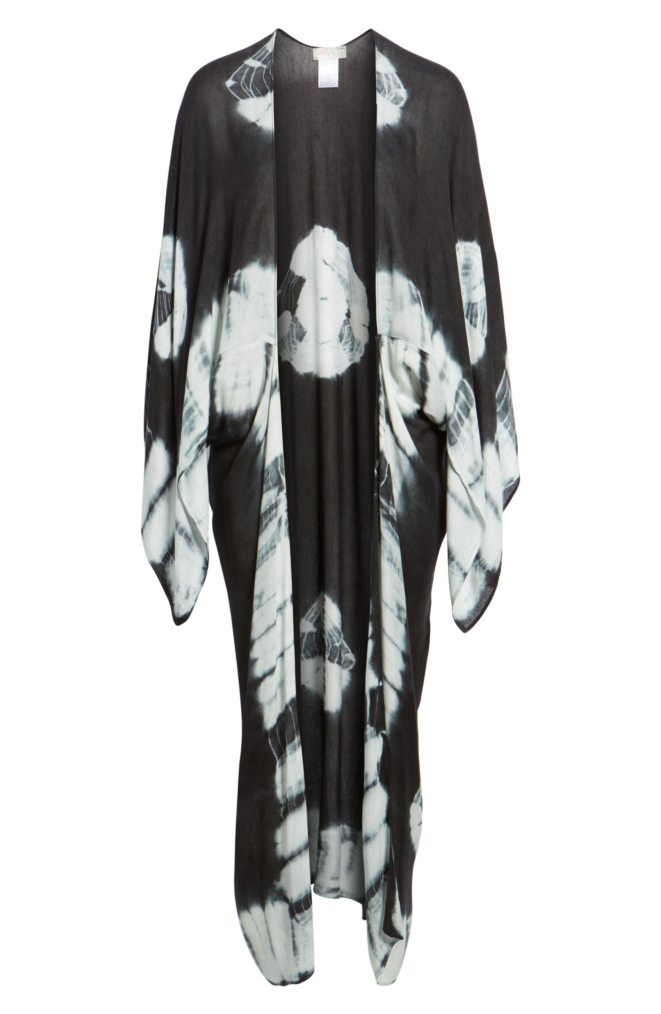 Spellbound Tie Dye Kimono Duster,                             Alternate thumbnail 6, color,                             Black