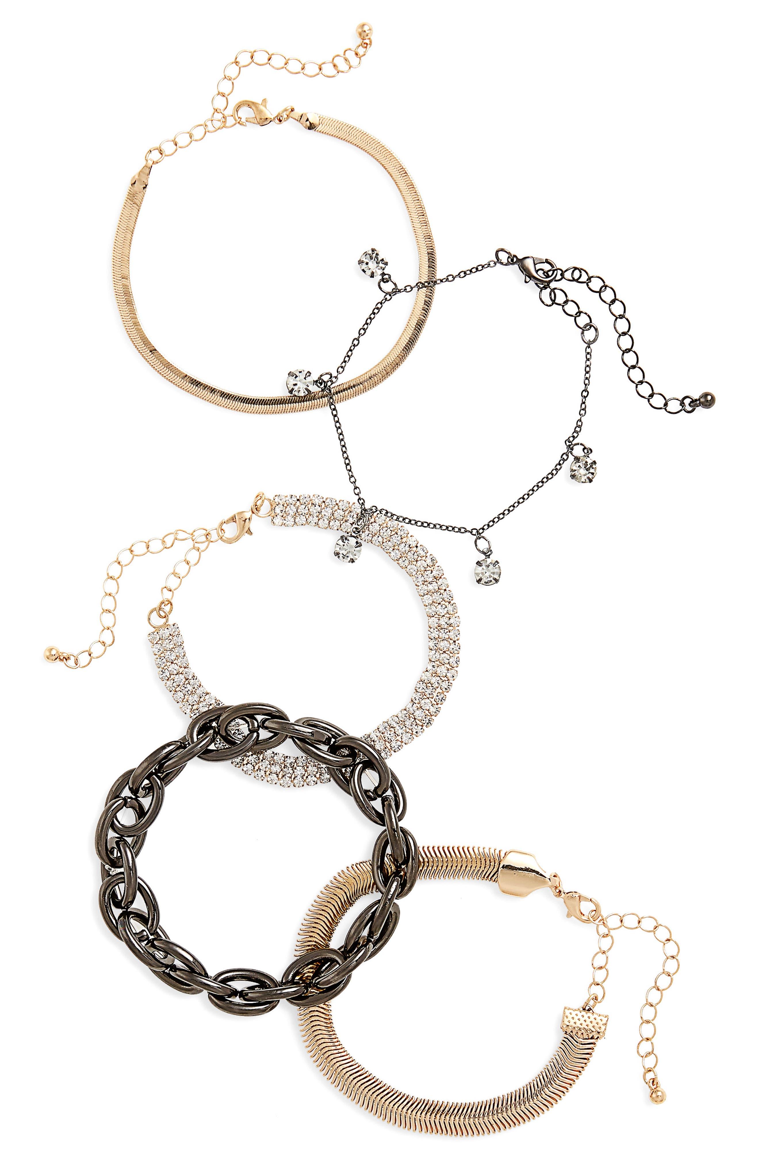 5-Pack Crystal Bracelets,                             Main thumbnail 1, color,                             Gold/ Crystal/ Gunmetal