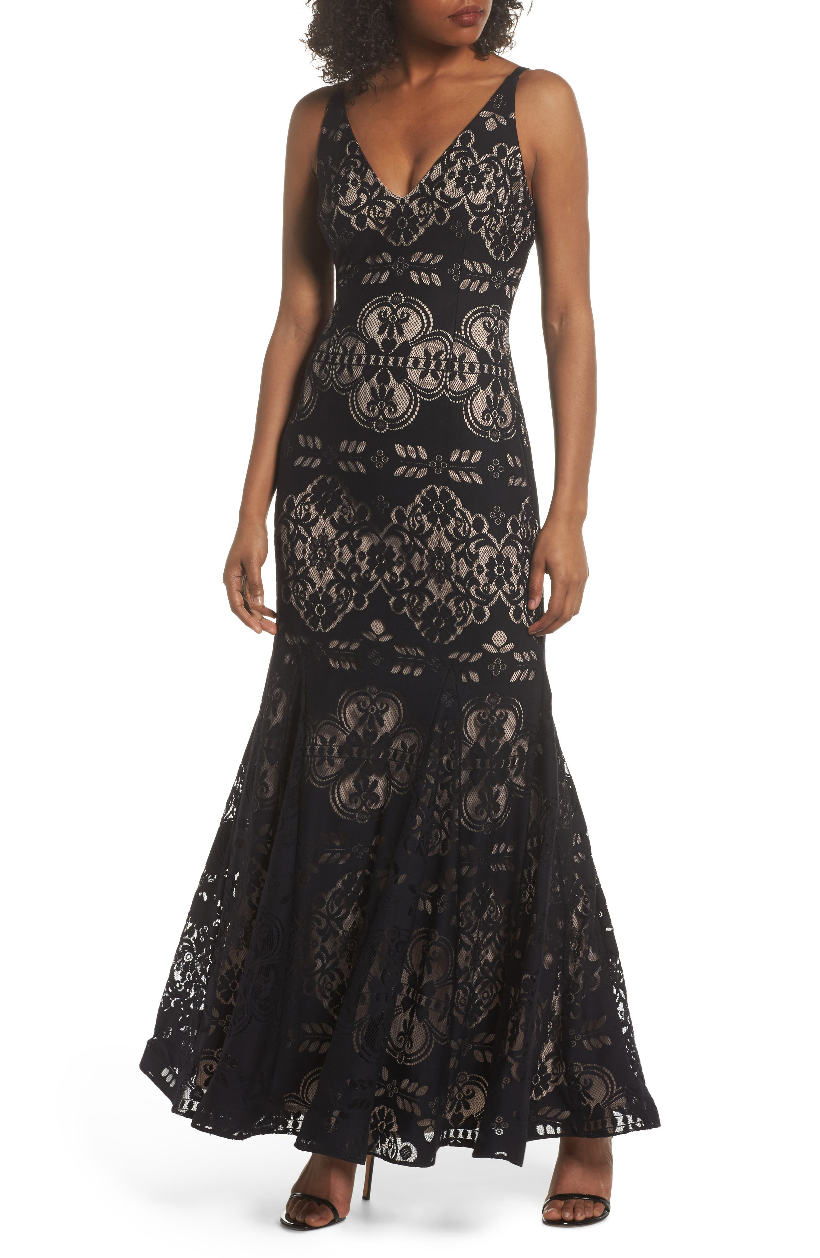 Lace V-Neck Gown,                         Main,                         color, Black/ Nude