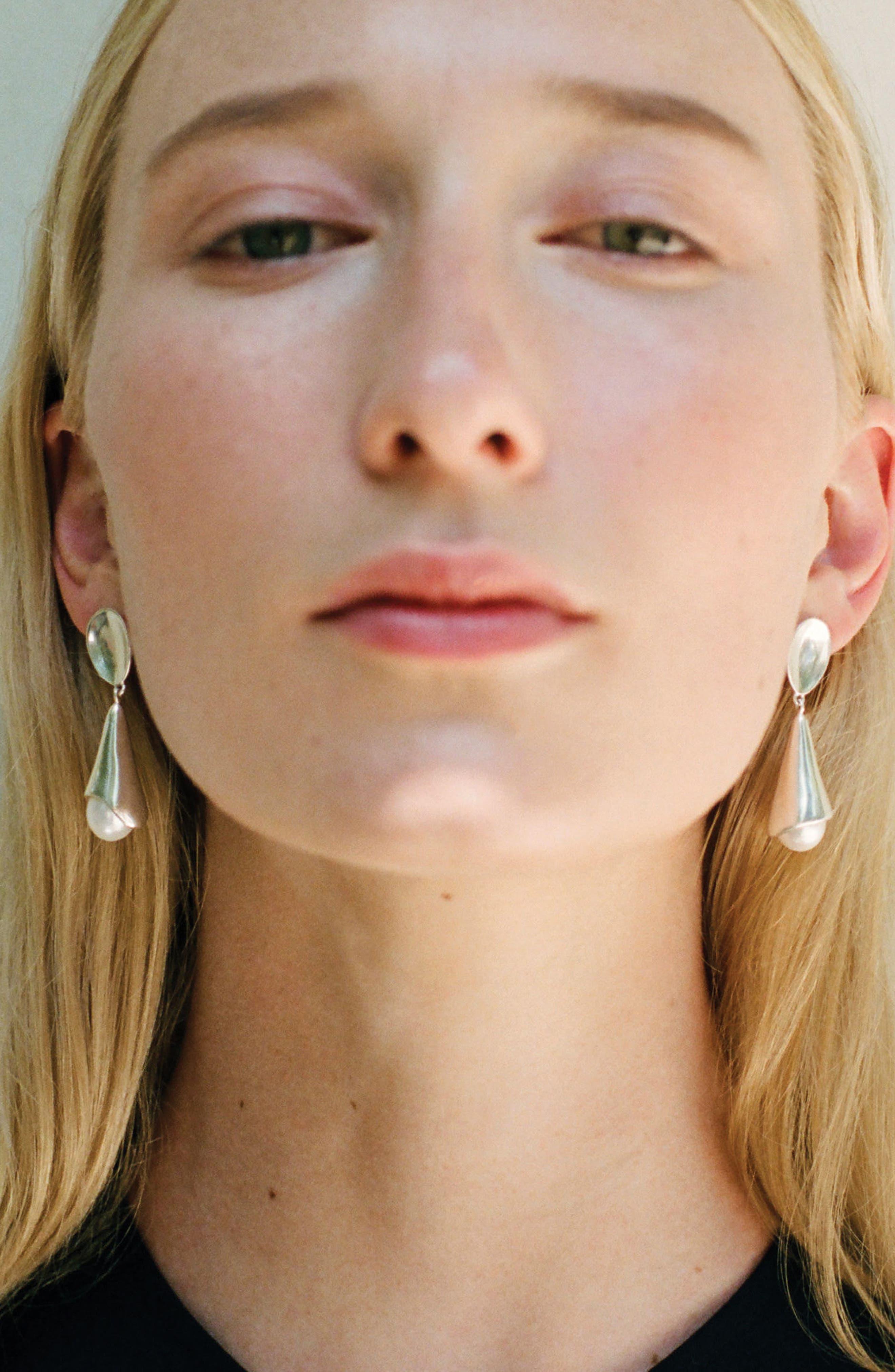 Freshwater Pearl Drop Earrings,                             Alternate thumbnail 2, color,                             Sterling Silver/ Pearl