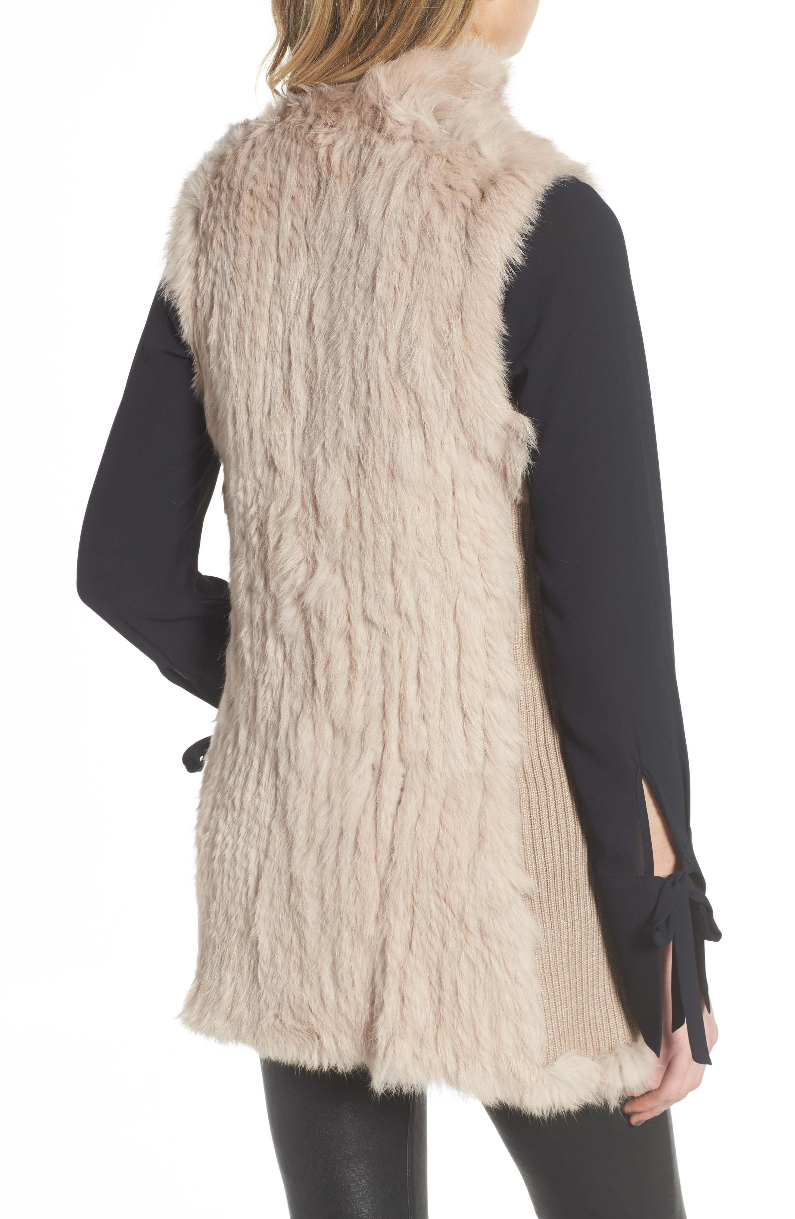 Alternate Image 2  - Love Token Genuine Rabbit Fur & Knit Vest (Nordstrom Exclusive)
