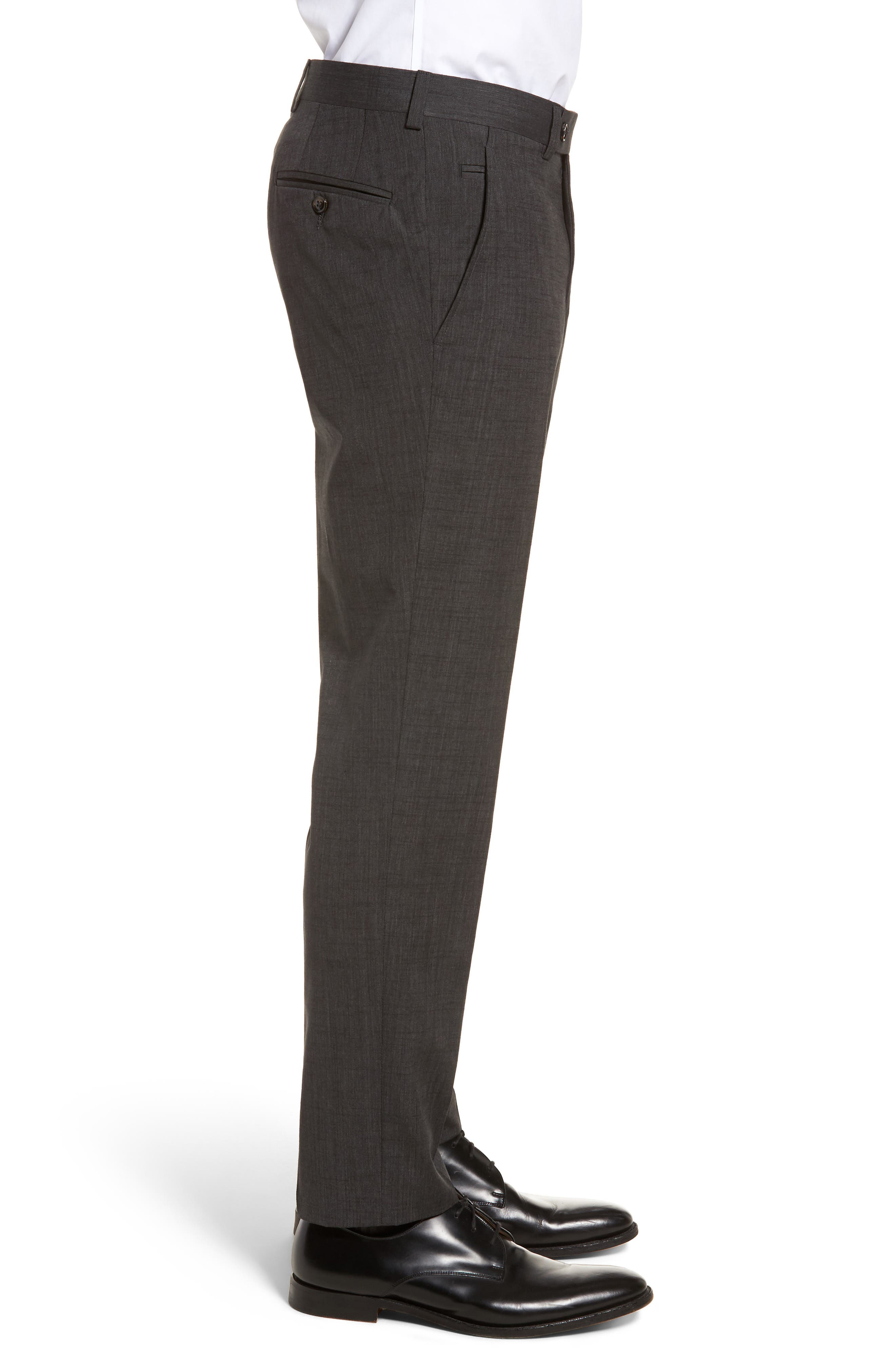 Jerome Flat Front Solid Wool & Cotton Trousers,                             Alternate thumbnail 3, color,                             Charcoal
