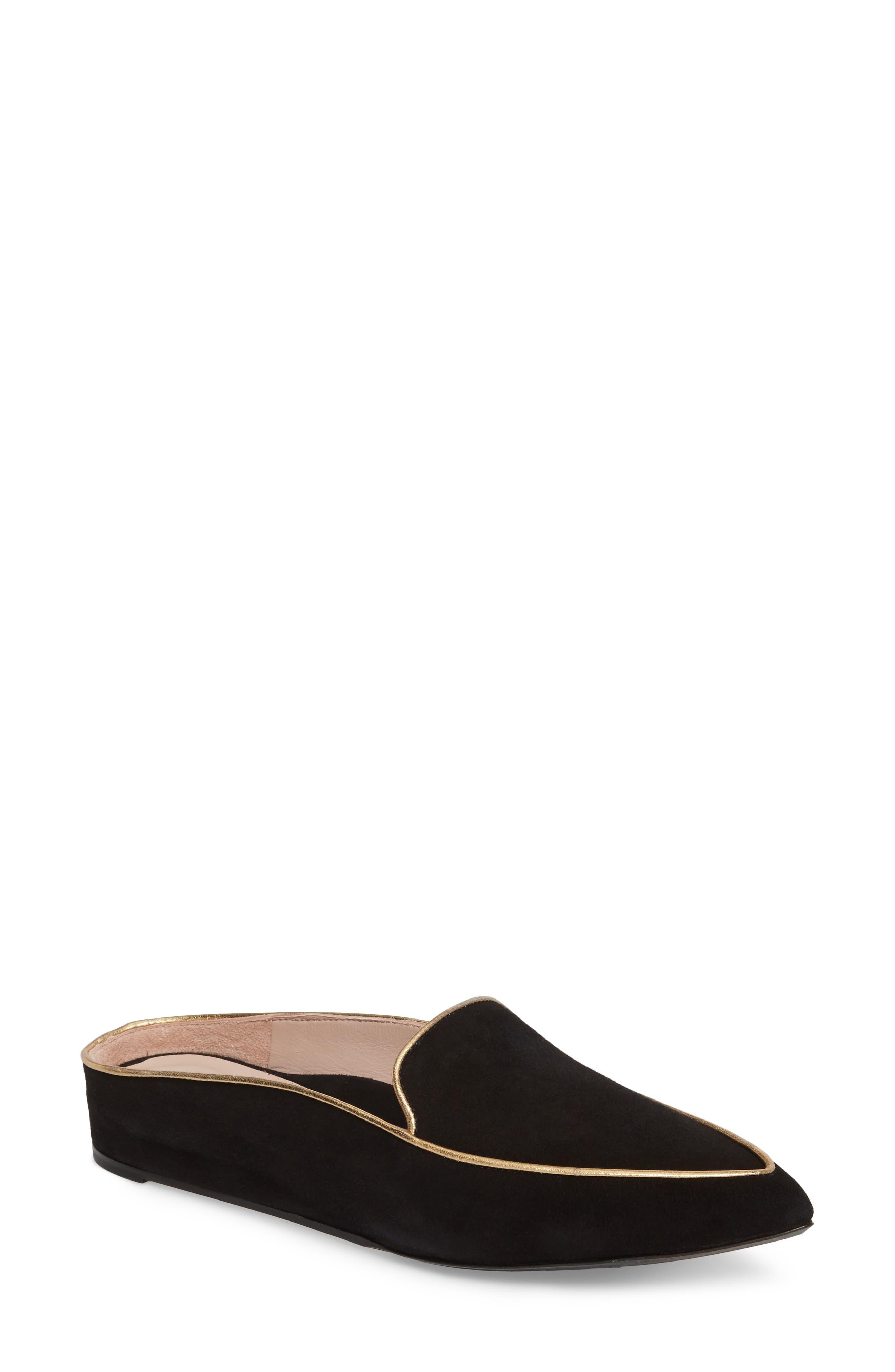 Taryn Rose Renatta Mule,                         Main,                         color, Black/ Black Leather