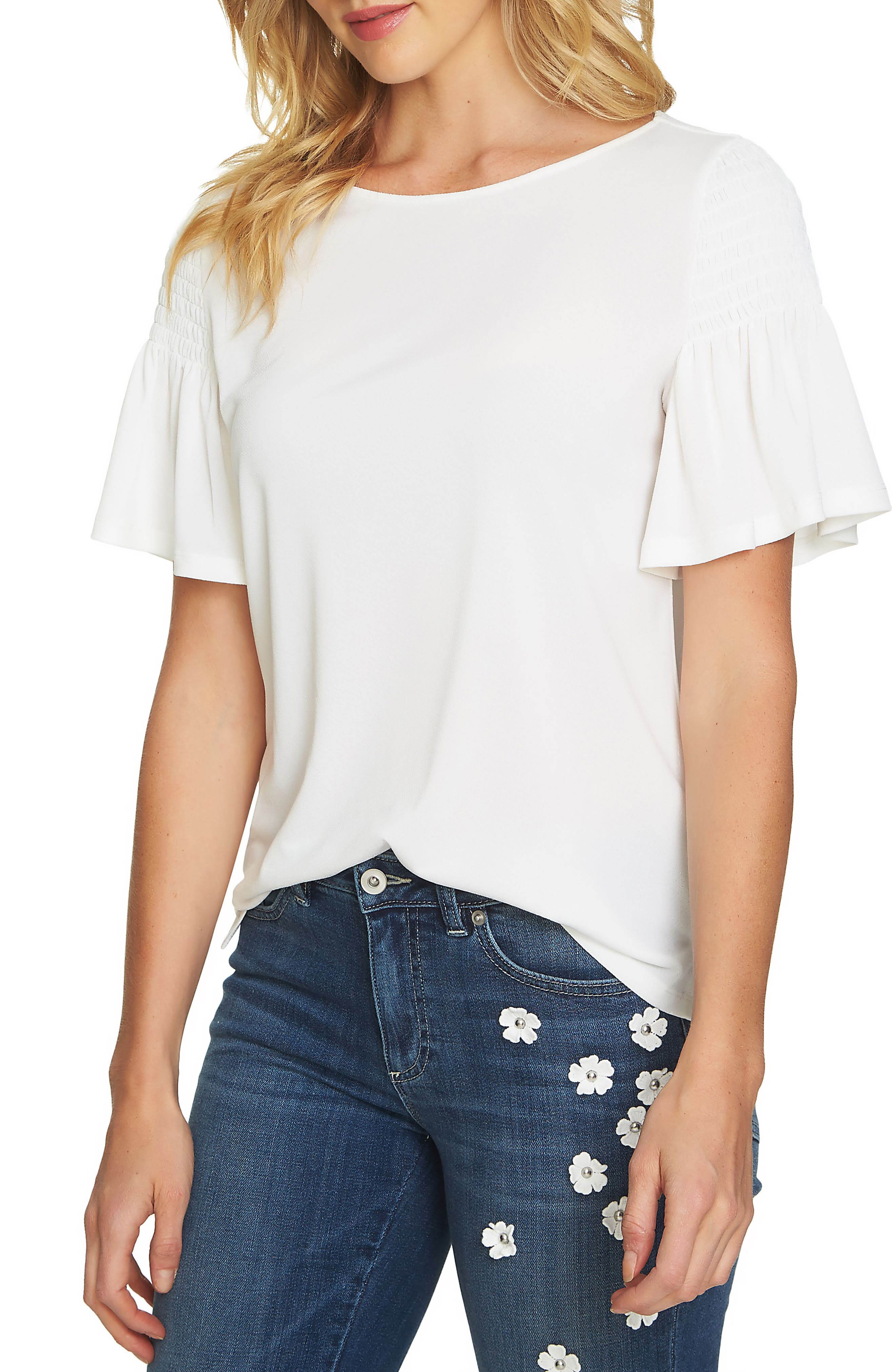 Flutter Sleeve Crepe Top,                             Main thumbnail 1, color,                             New Ivory