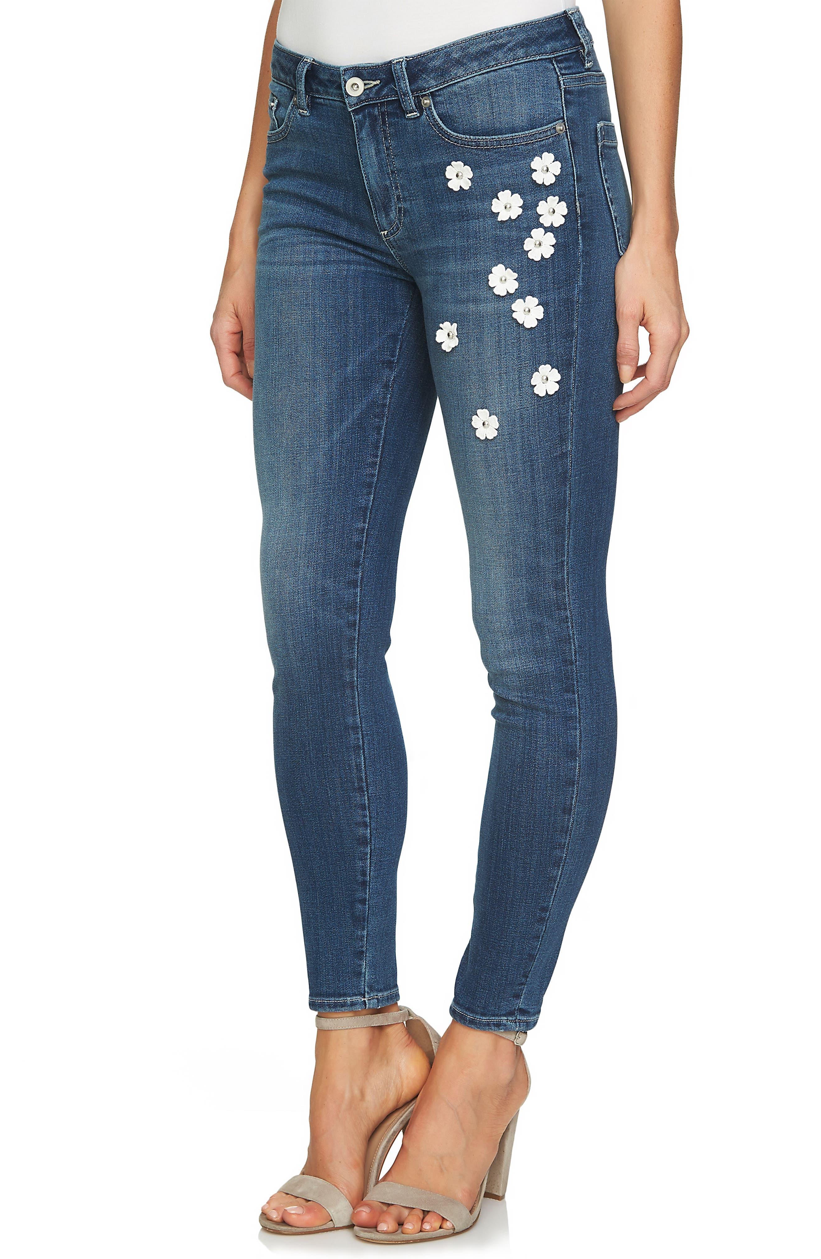 CeCe Floral Embellished Classic Jeans (True Blue)