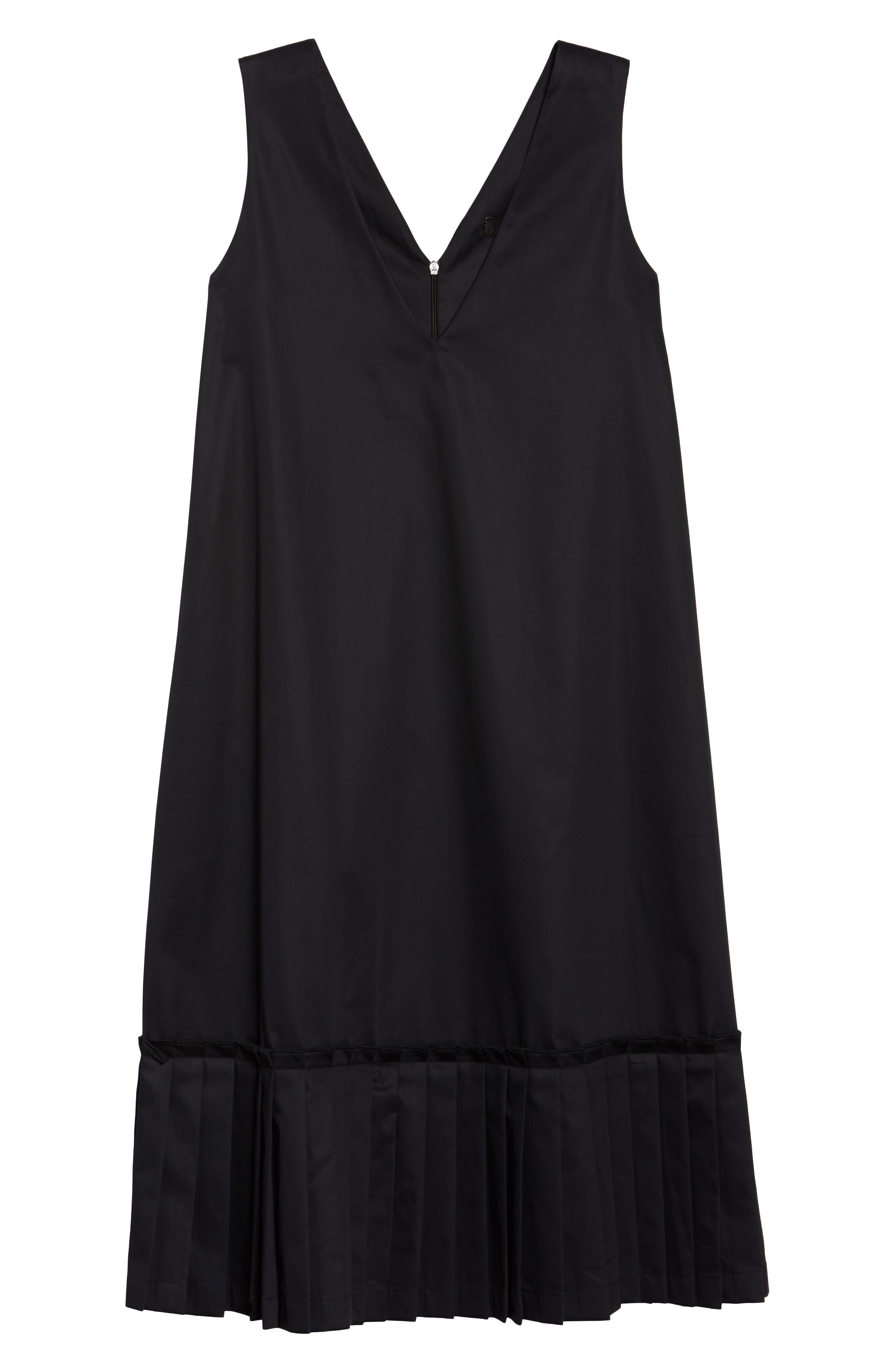 Pleat Hem Shift Dress,                             Alternate thumbnail 6, color,                             Black
