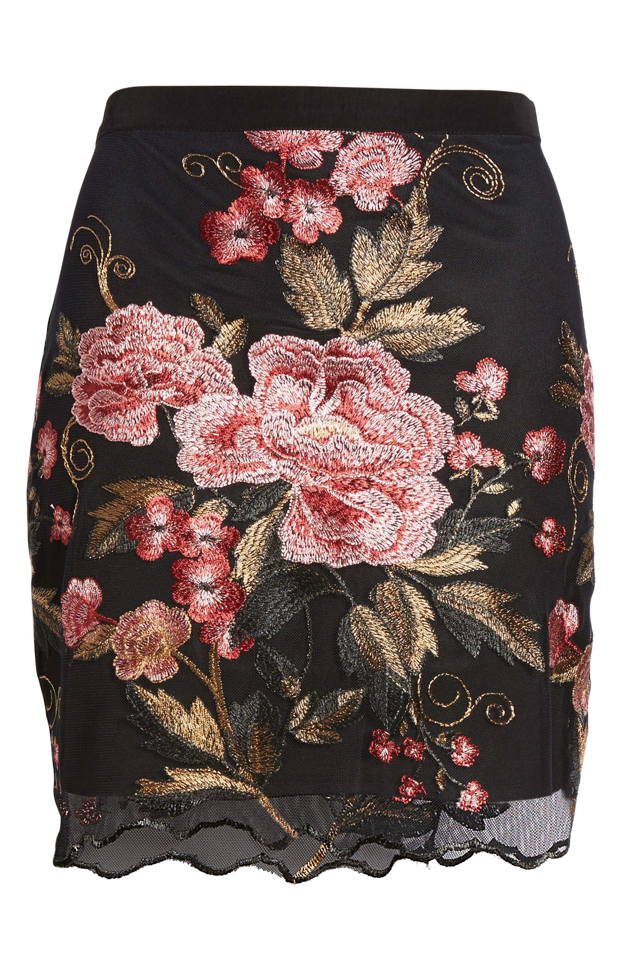 Sunset Embroidered Skirt,                             Alternate thumbnail 7, color,                             Black/ Rose