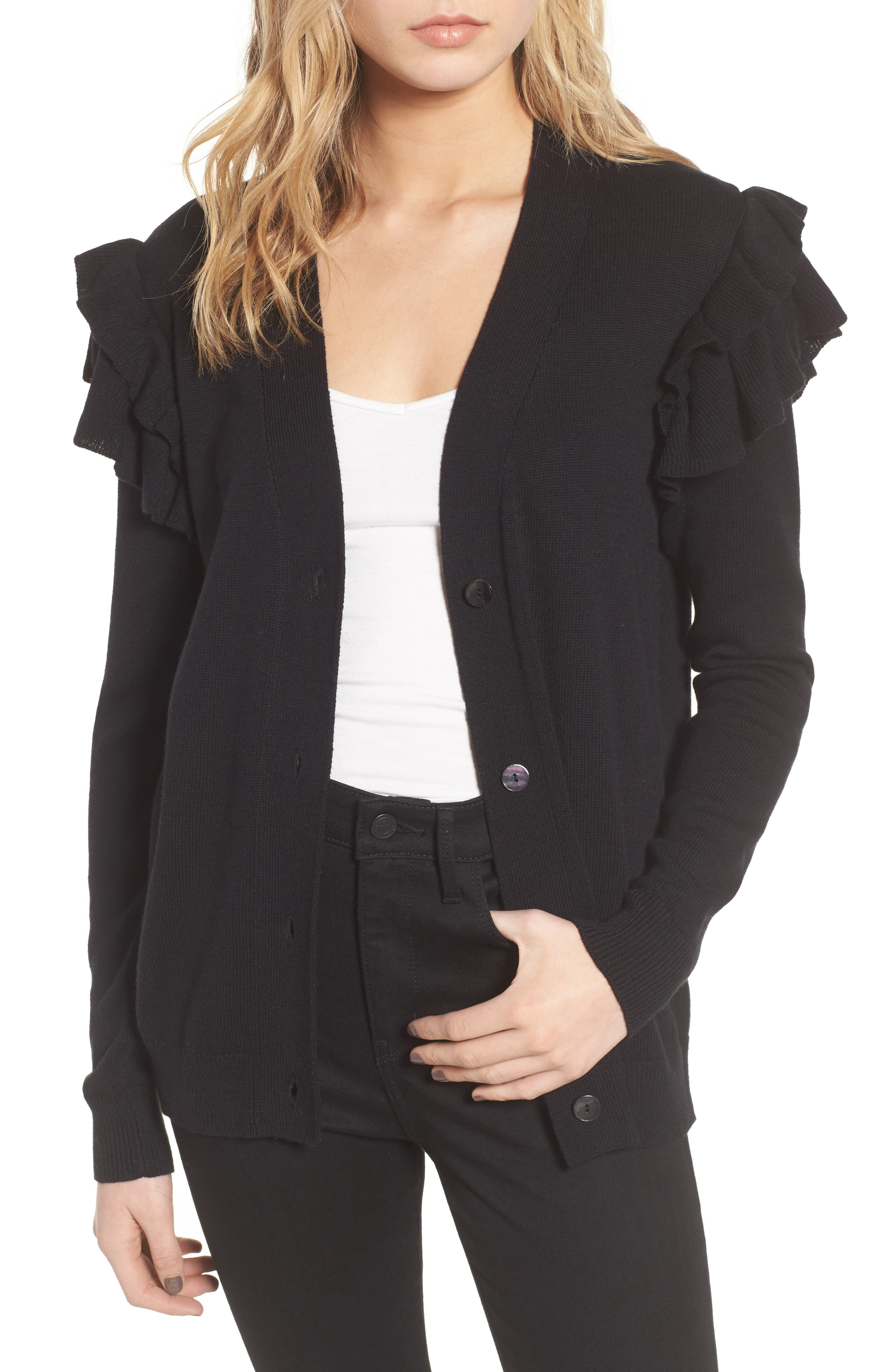 Ruffle Sleeve Cardigan,                         Main,                         color, Black