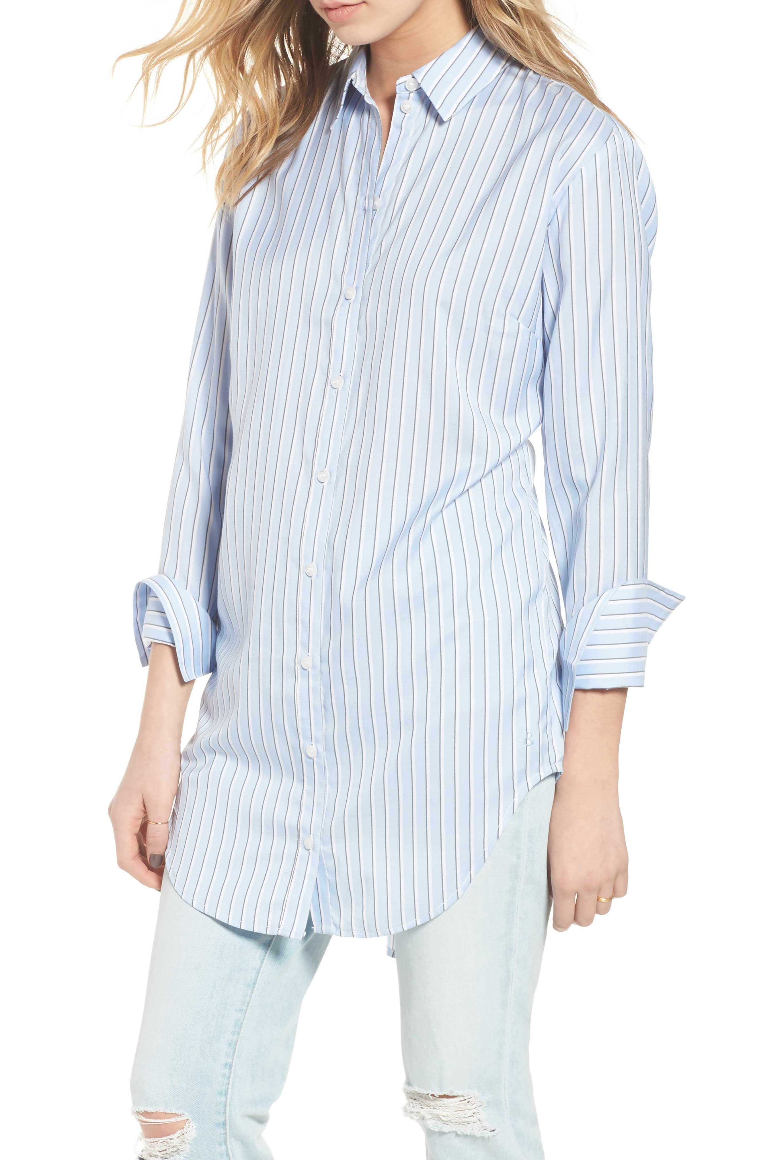 Pleat Back Shirtdress,                         Main,                         color, Blue Brunnera Groove Stripe