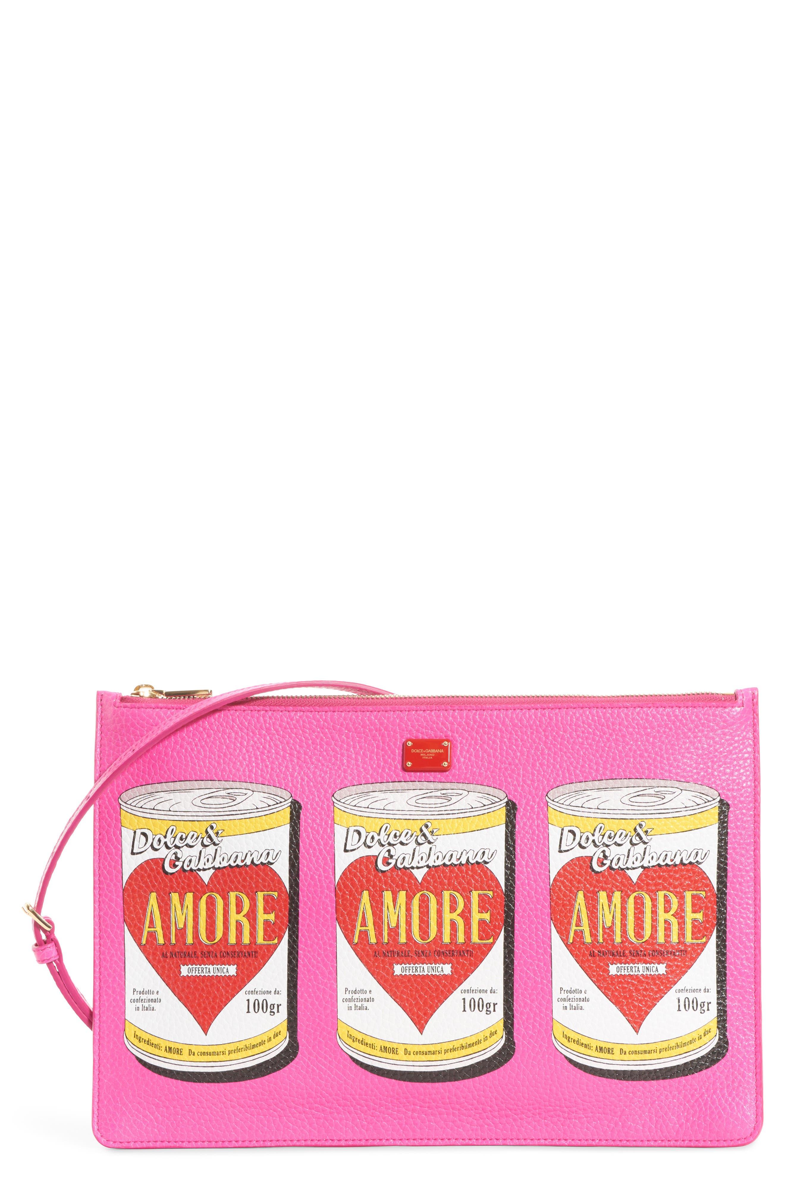 Dolce&Gabbana Cleo Soup Can Print Leather Shoulder Bag