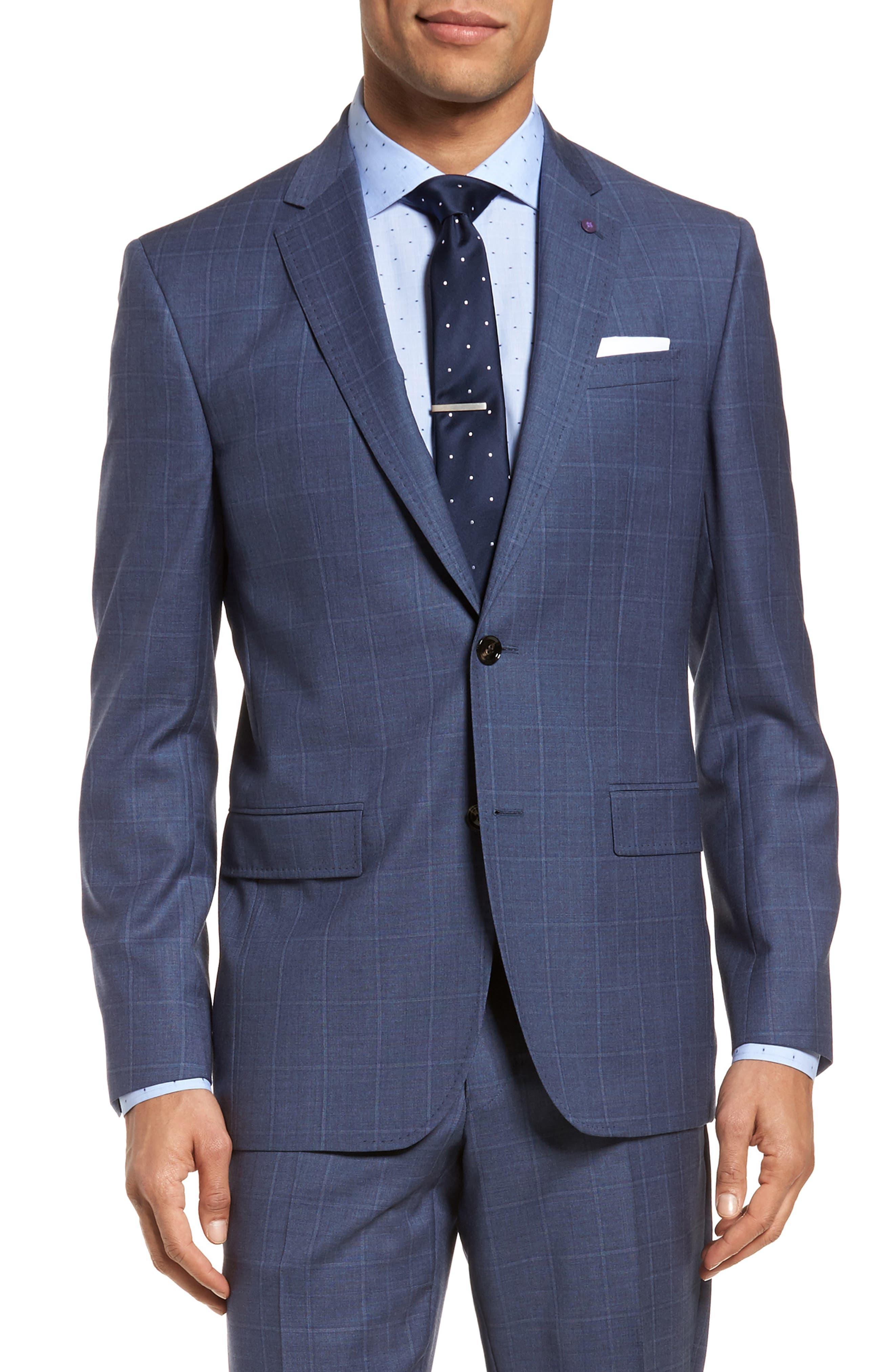 Jay Trim Fit Windowpane Wool Suit,                             Alternate thumbnail 5, color,                             Med Blue
