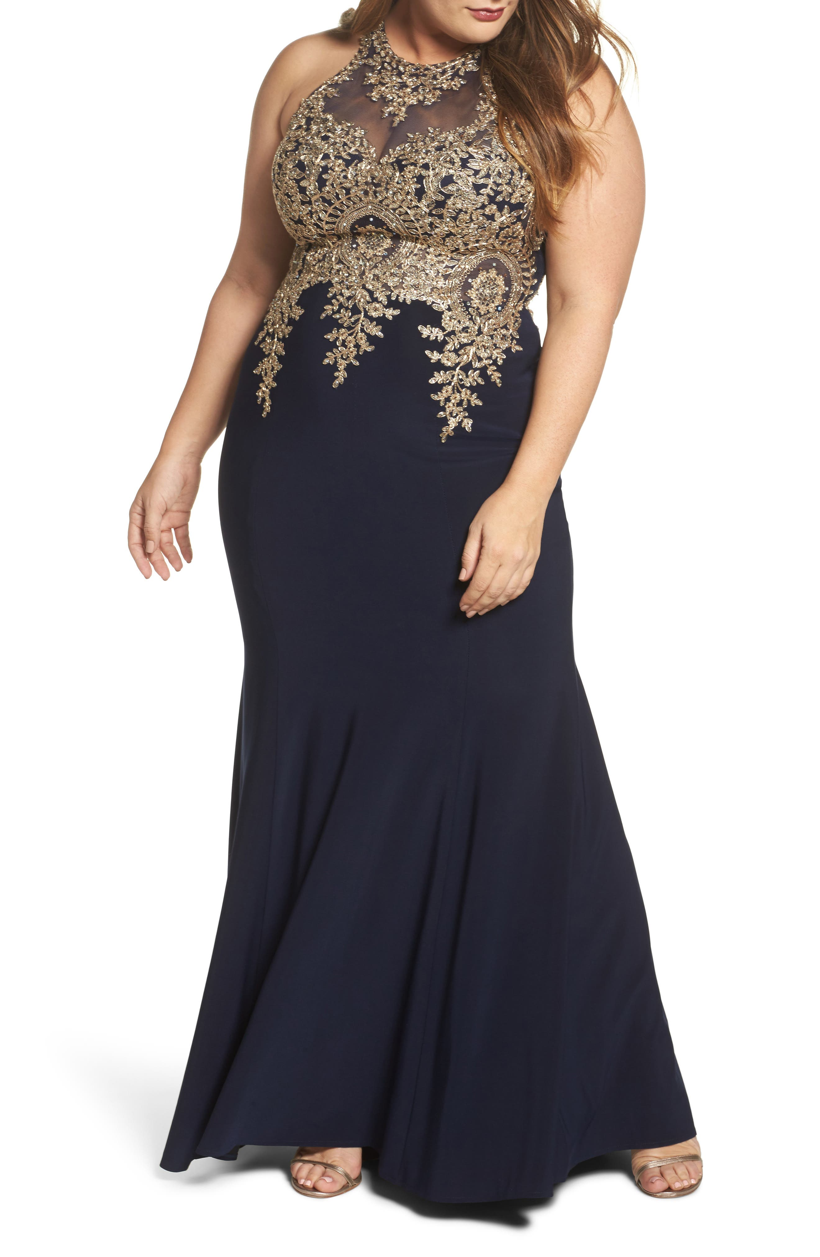 Embellished Mermaid Gown,                         Main,                         color, Navy/ Gold