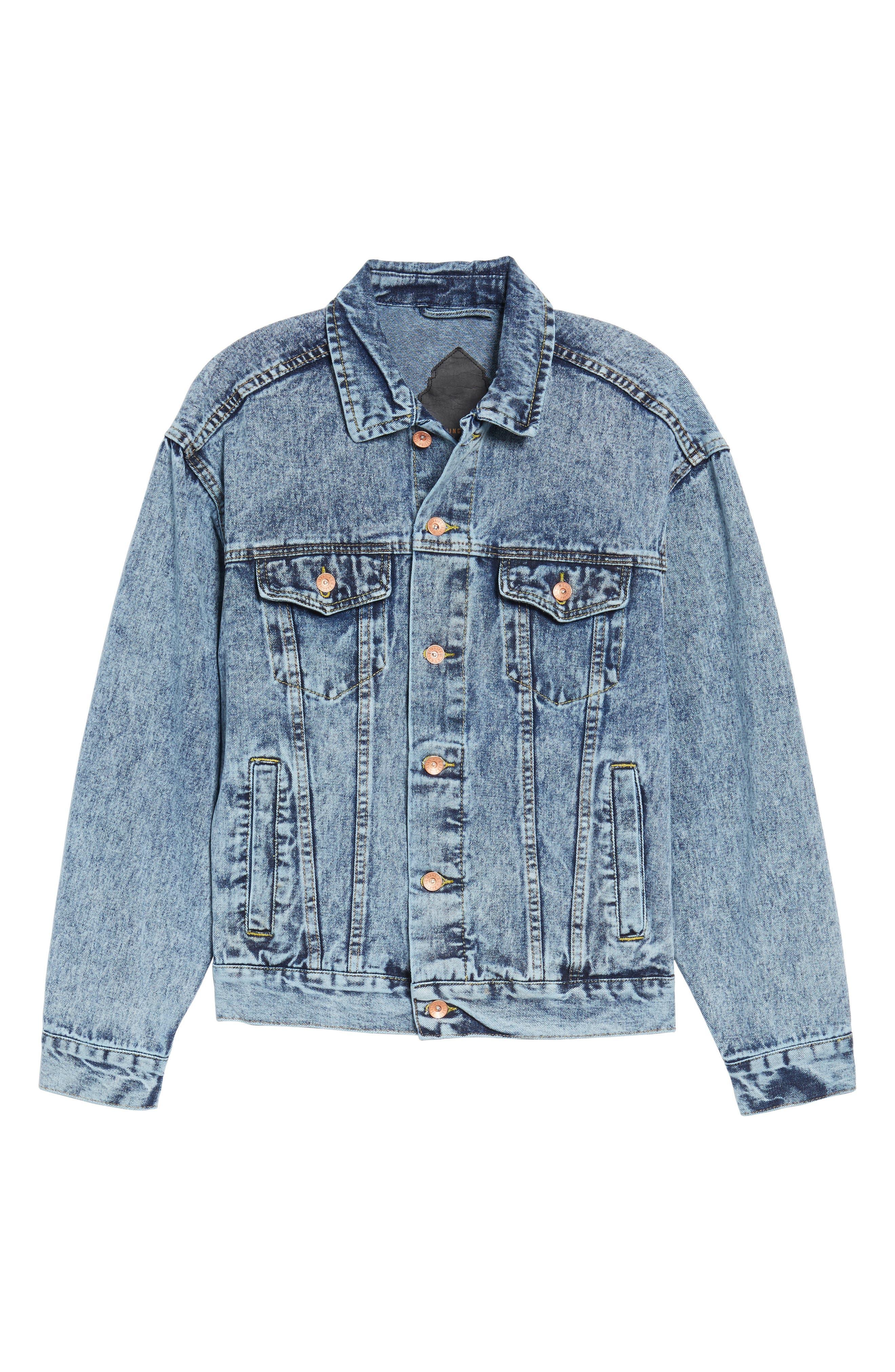 Classic Fit Denim Jacket,                             Alternate thumbnail 6, color,                             Blue Acid Wash