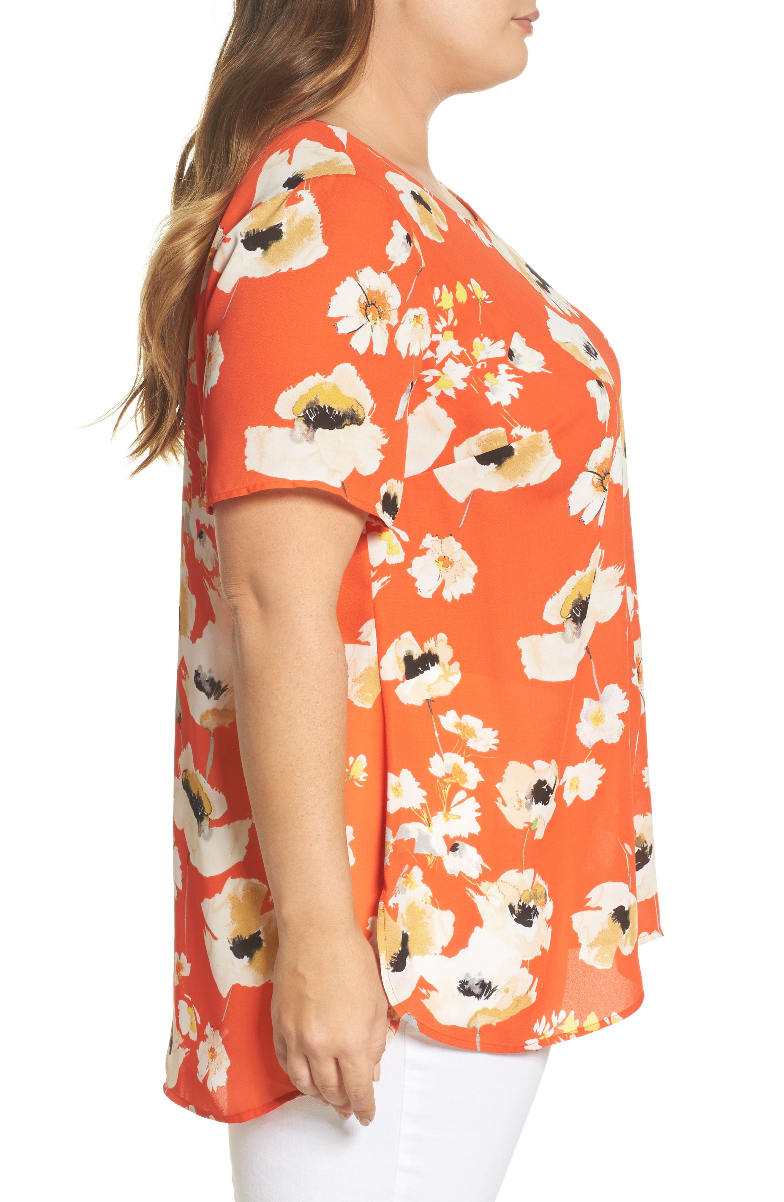 Print Crepe Tee,                             Alternate thumbnail 3, color,                             C946n Nectarine